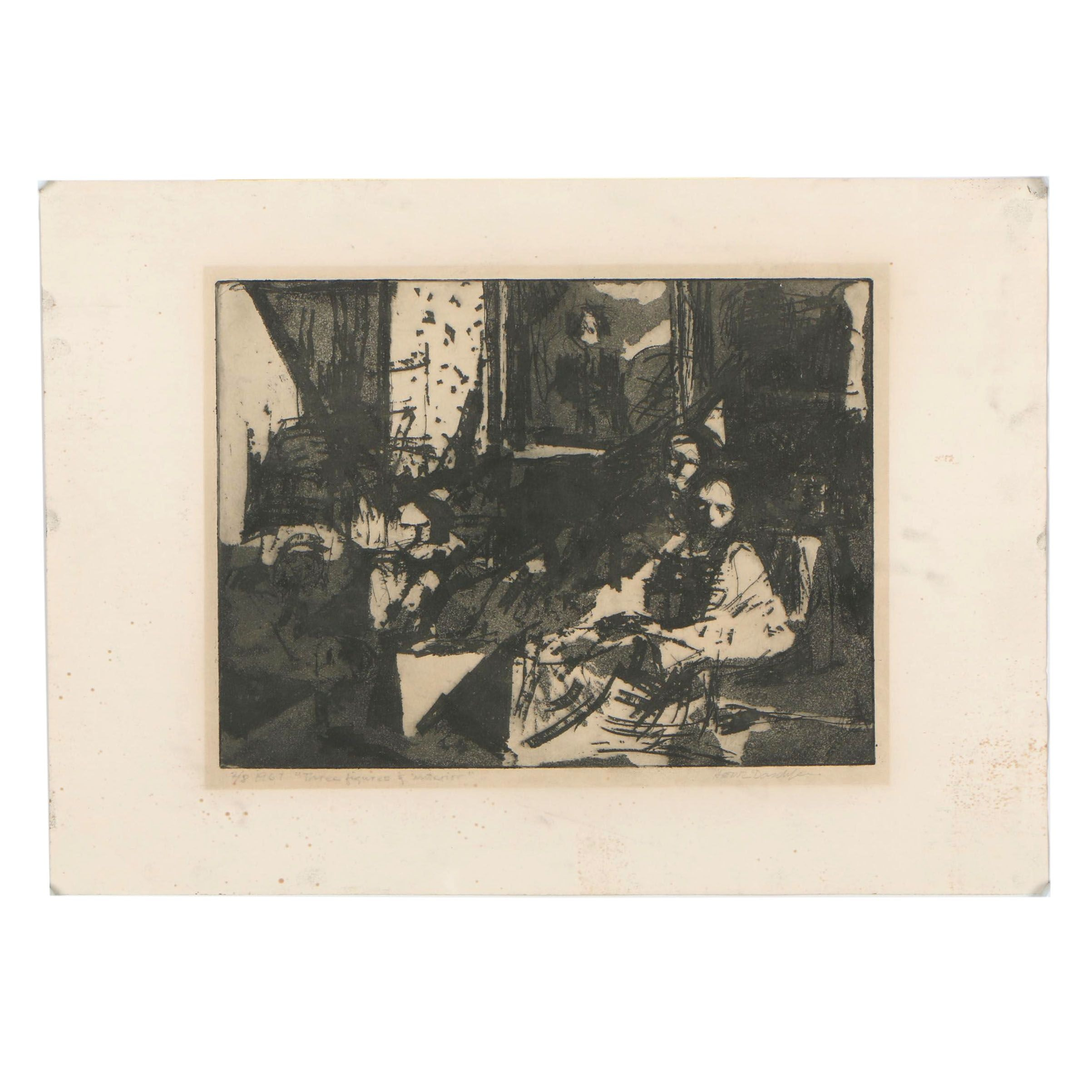 """Heinz Daschle 1967 Drypoint with Aquatint """"Three Figures and Interior"""""""