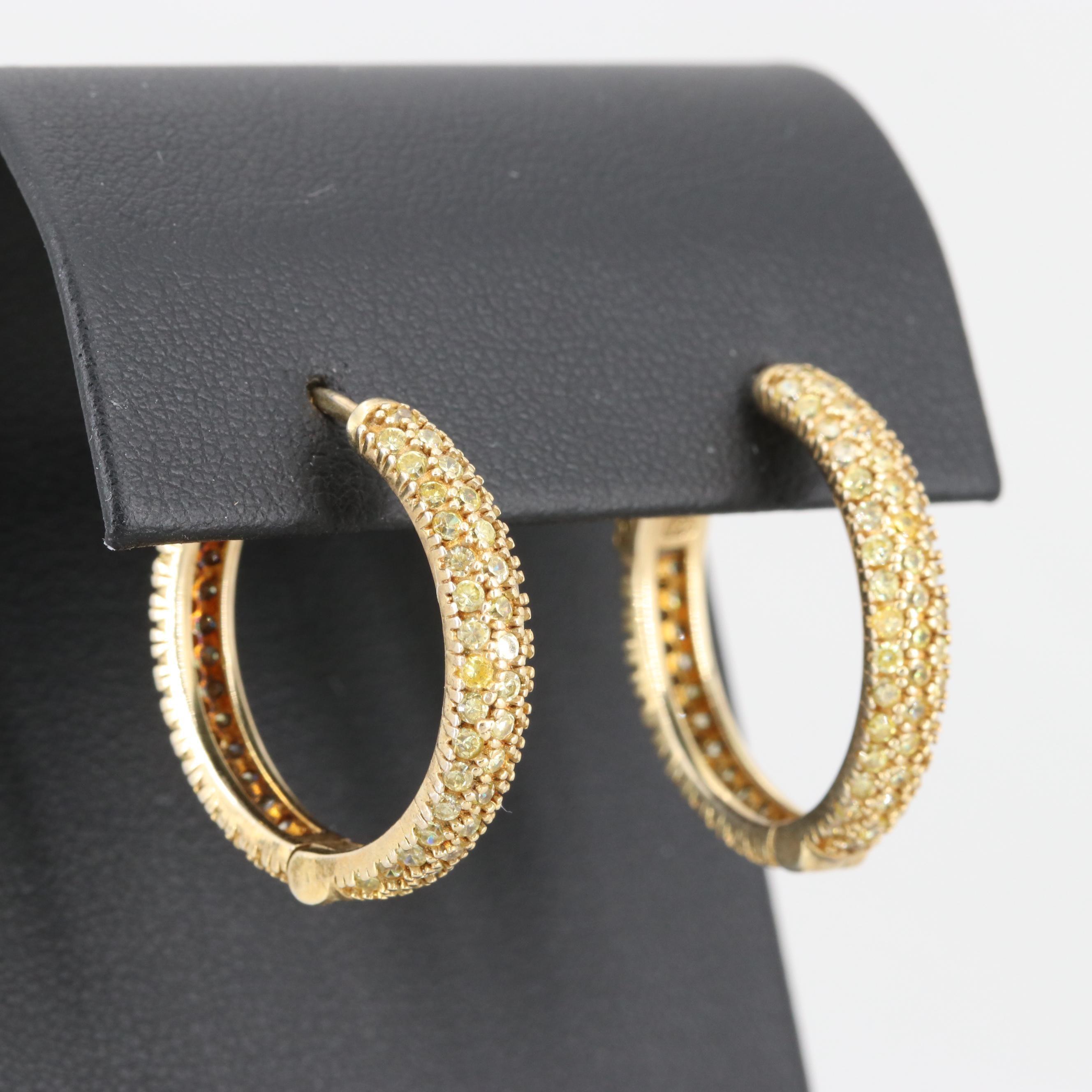 Gold Wash on Sterling Silver Cubic Zirconia Hoop Earrings