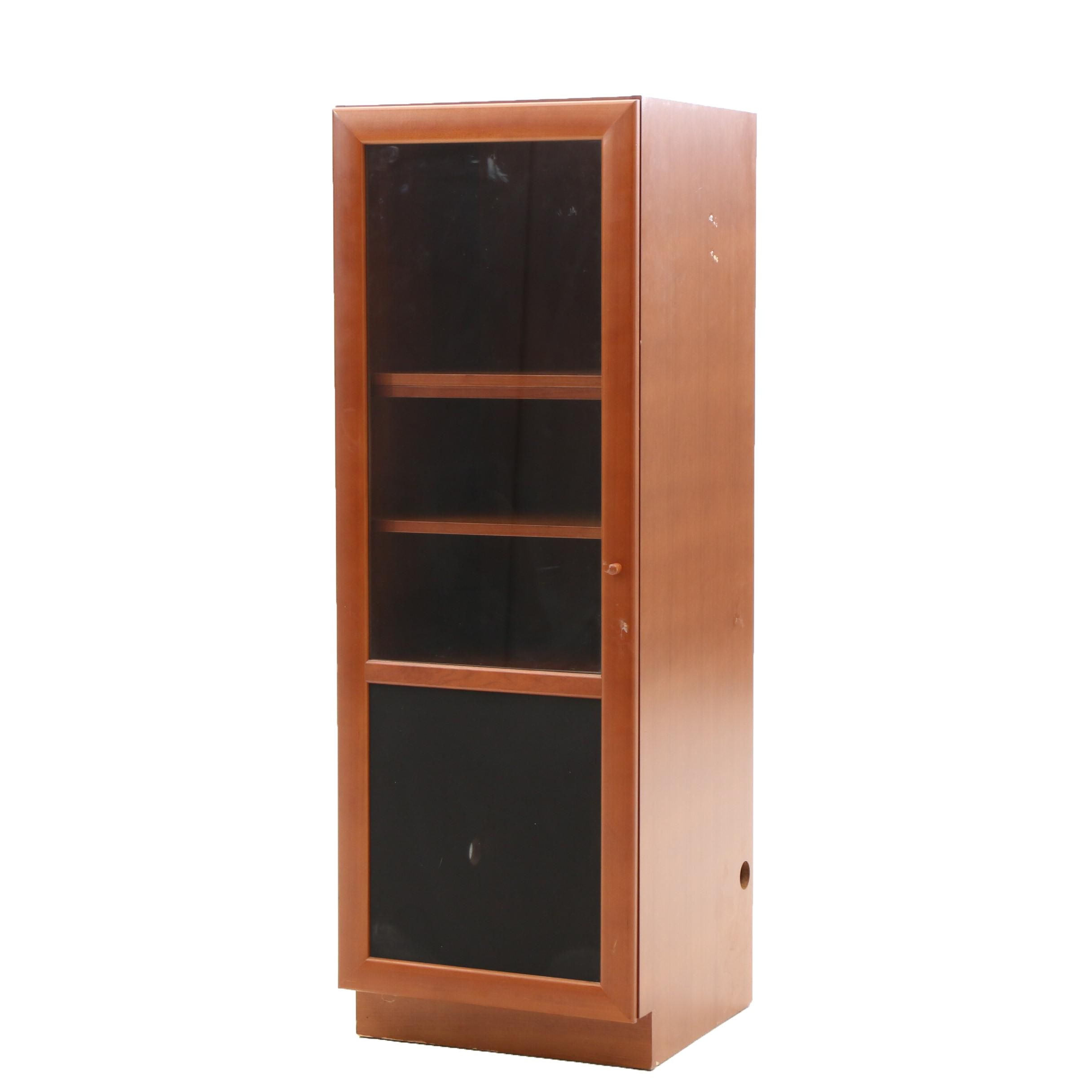 Cherry Media Cabinet with A Glass Front Door