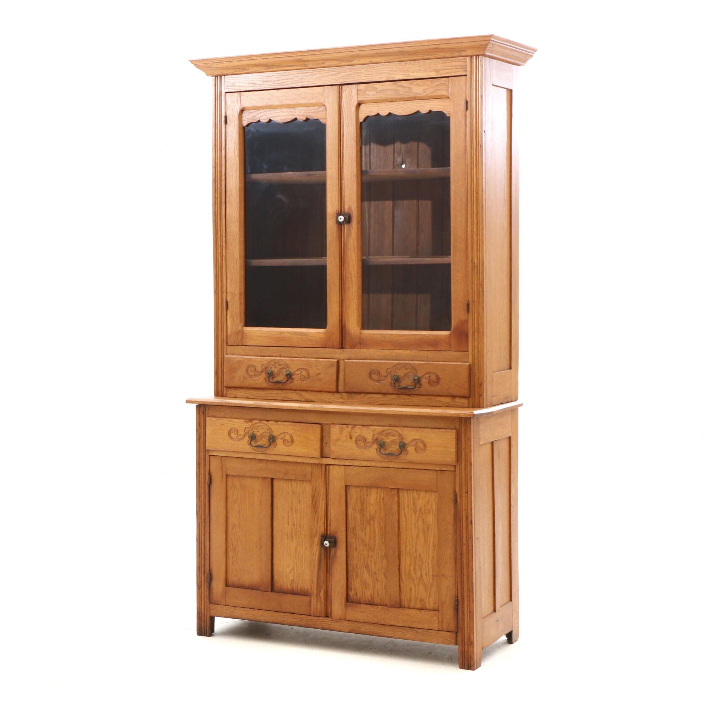 Two-Piece Oak Cabinet
