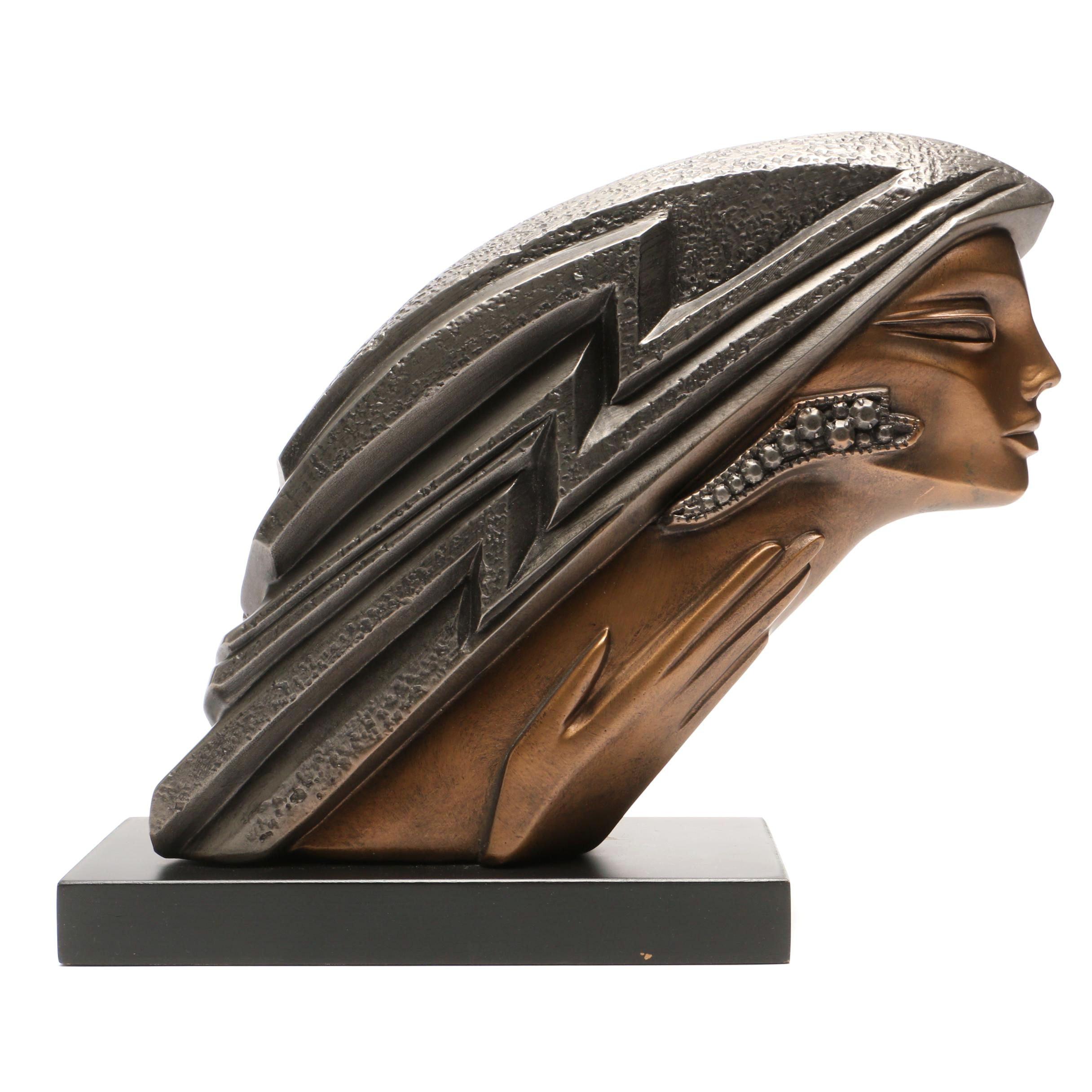 Bronze-Tone Head of Woman by Austin Sculpture