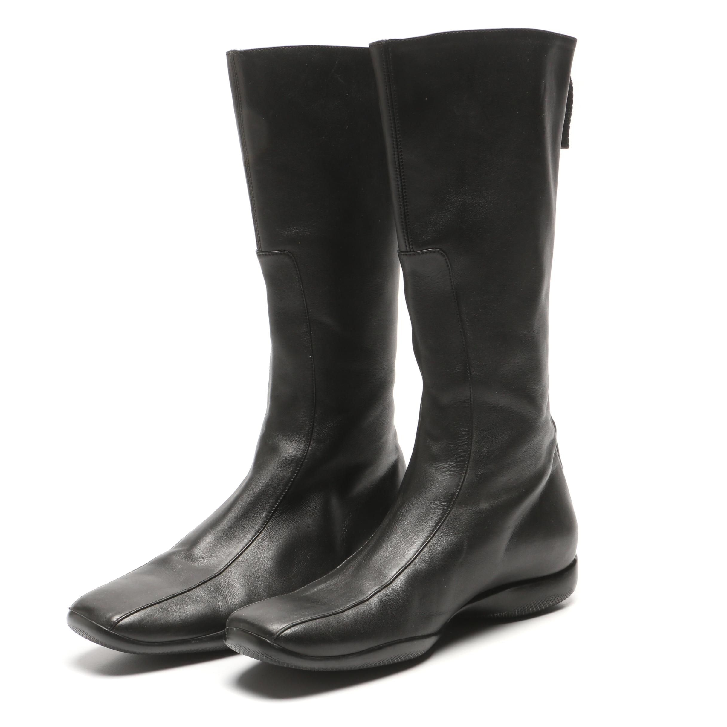 Prada Black Leather Boots, Made in Italy