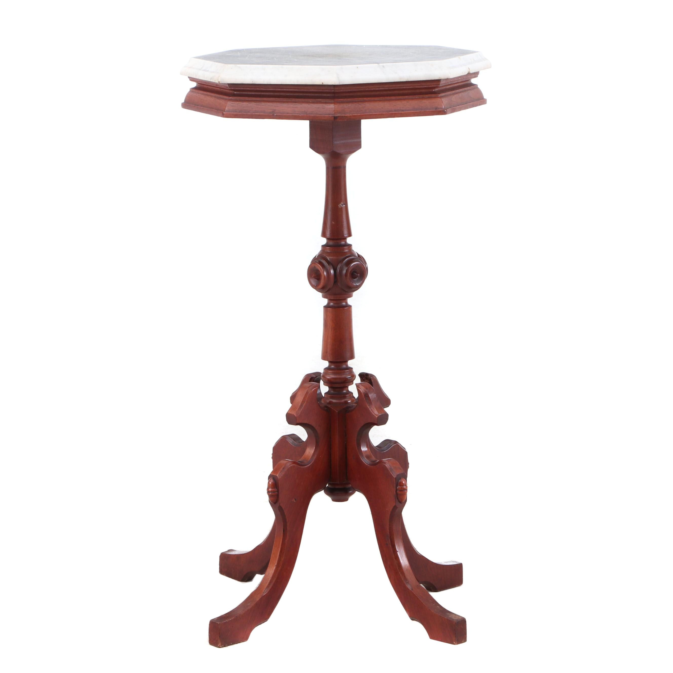 Victorian Walnut Pedestal Side Table with Beveled White Marble Top