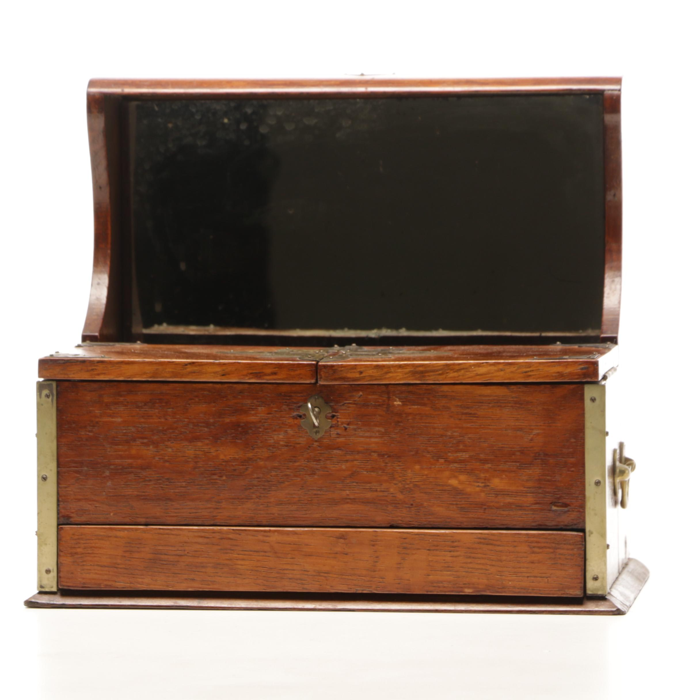 English Tantalus Decanter Box in Oak with Brass Accents