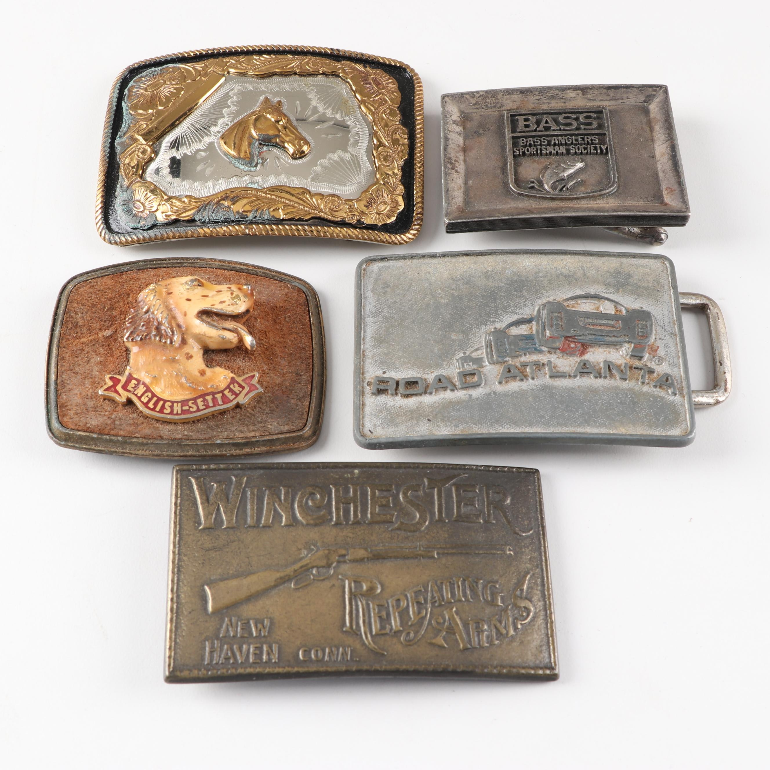 Men's Belt Buckles Including Rockmount Winchester Brass Buckle, Vintage