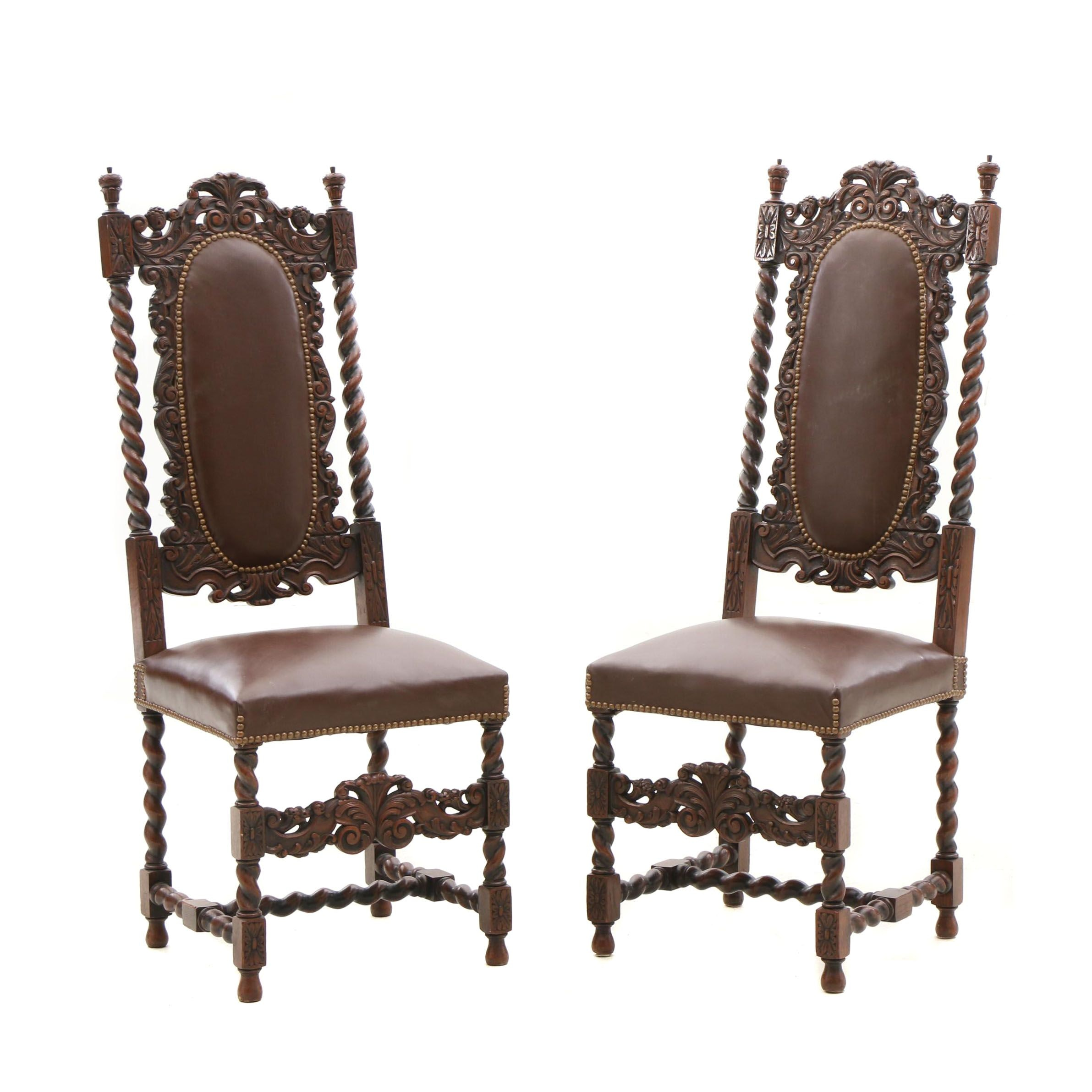 William and Mary Style Carved Oak Side Chairs, Early 20th Century