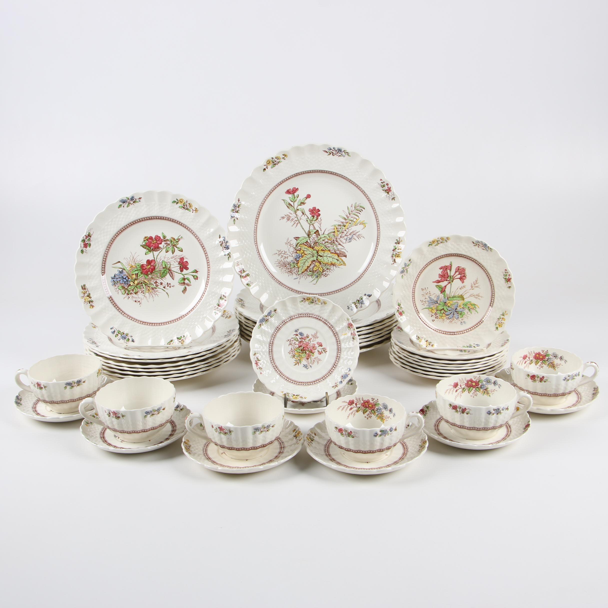 "Spode ""Rosalie"" Ceramic Dinnerware, Mid-Century"