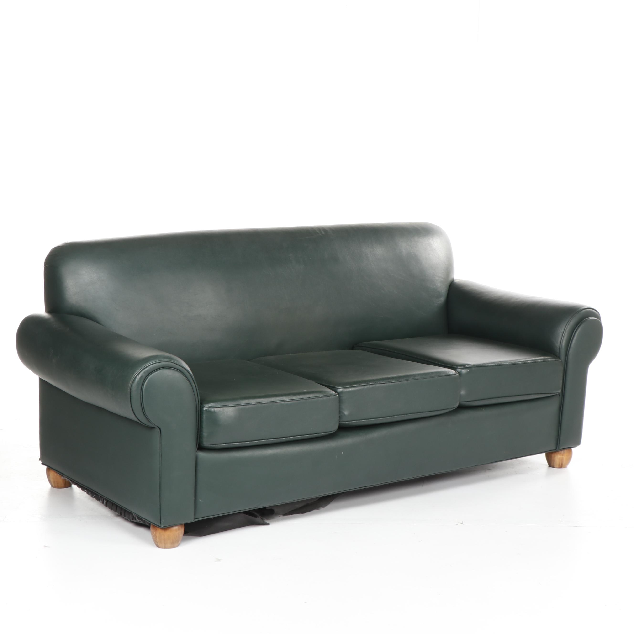 Lawson Style Green Faux Leather Sofa, Late 20th Century