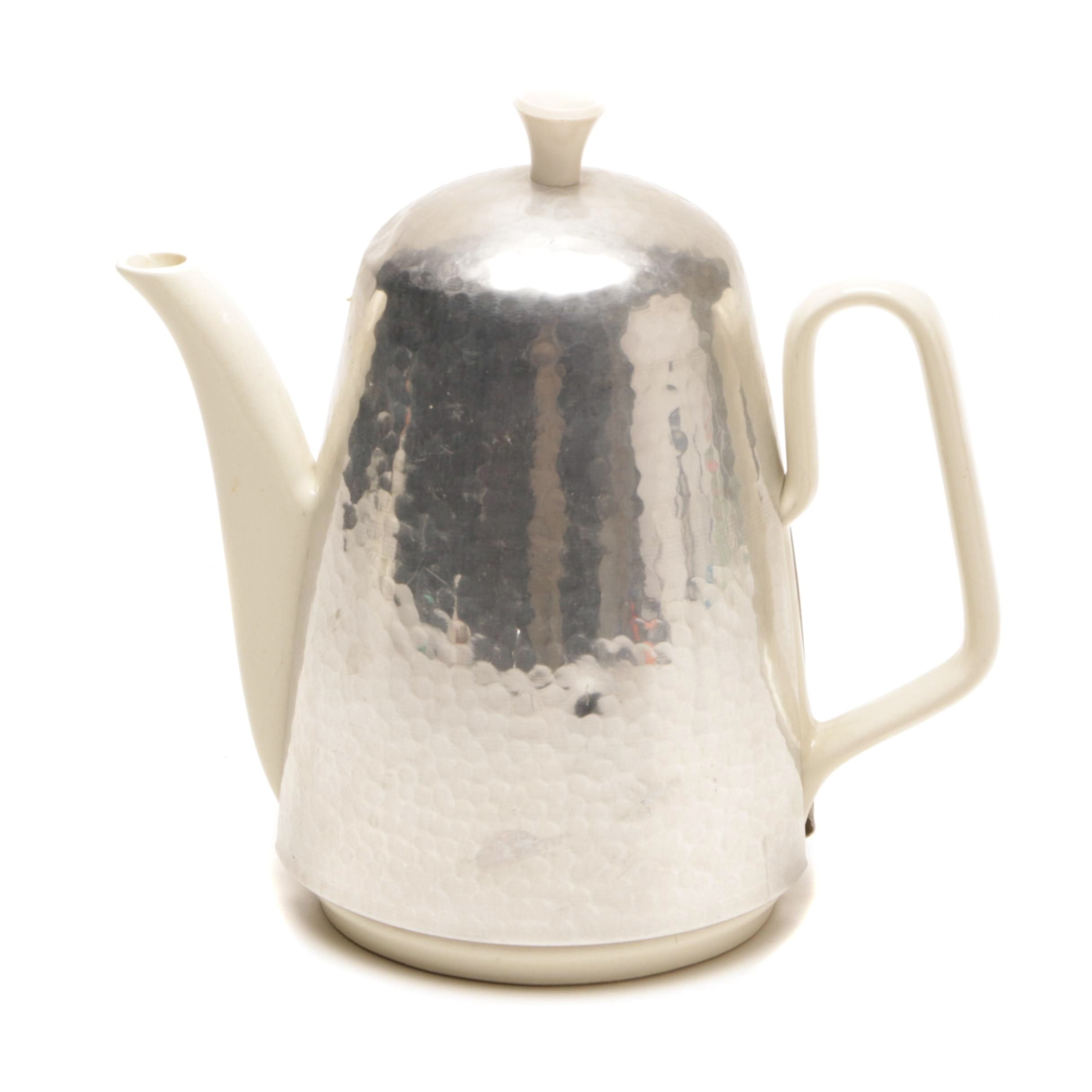 Waku Ceramic Coffee Pot with Hammered Aluminum Cozy
