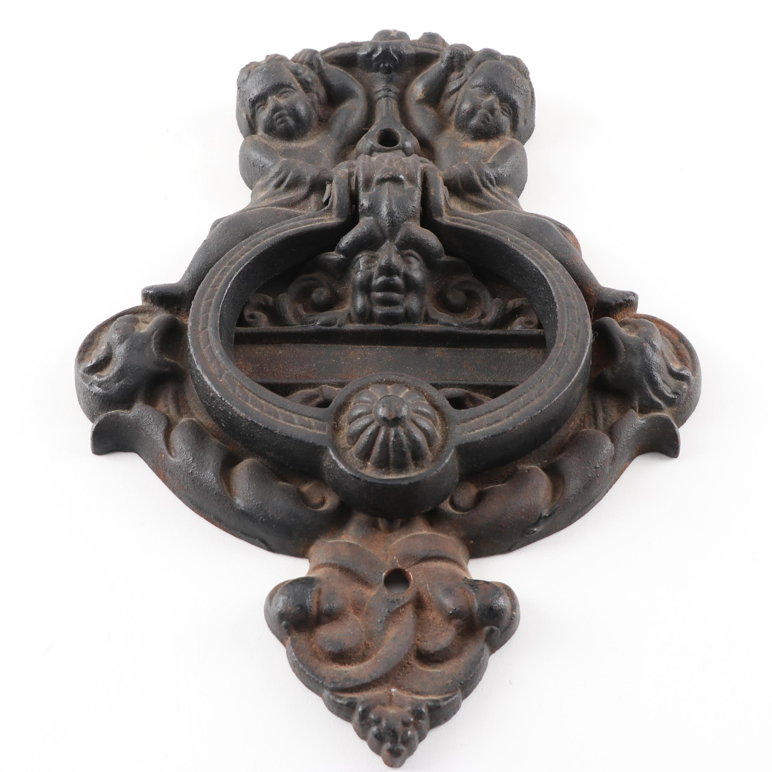 Italian Renaissance Style Cast Iron Door Knocker, 20th Century