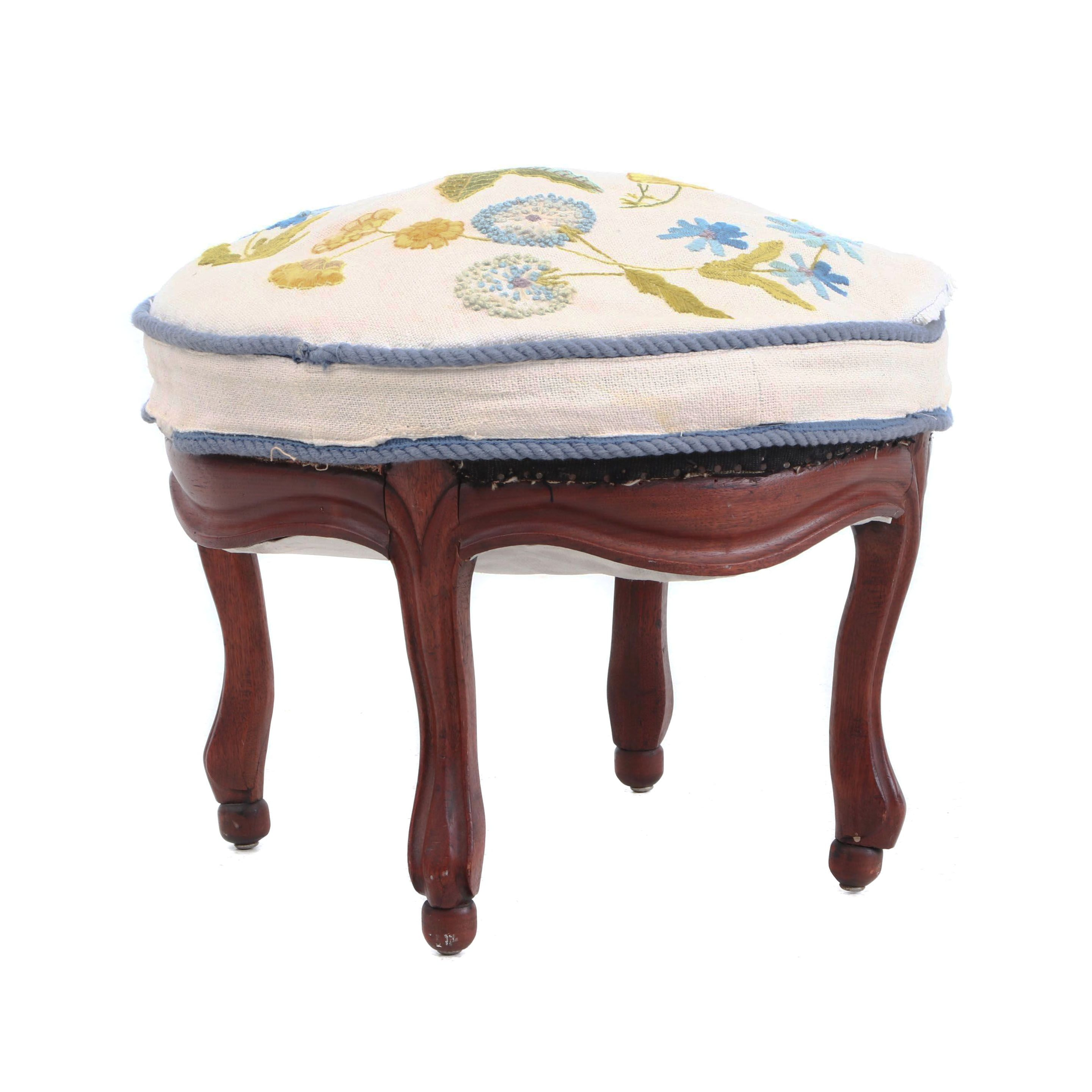 Victorian Walnut Ottoman with Embroidered Seat