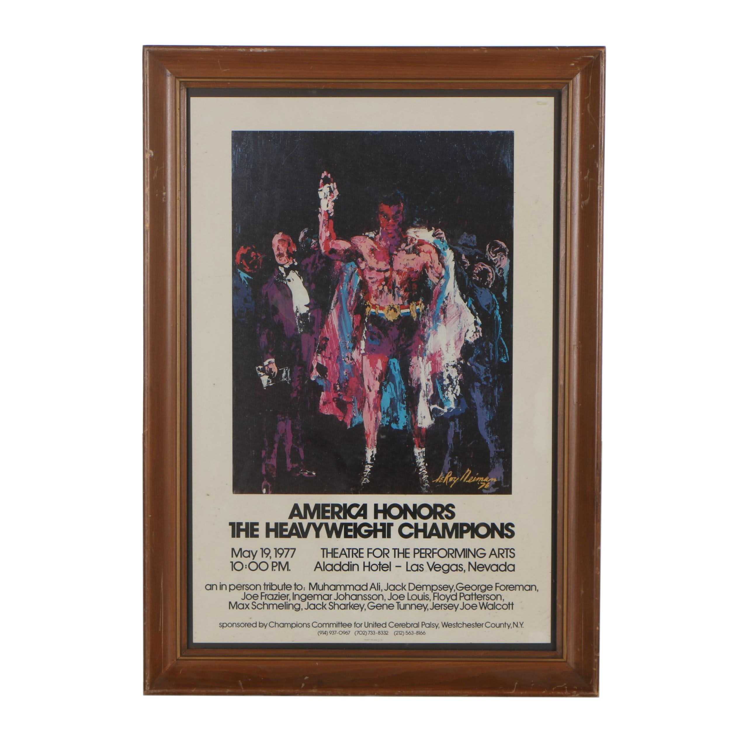 """Offset Lithograph after Leroy Neiman """"America Honors the Heavyweight Champions"""""""