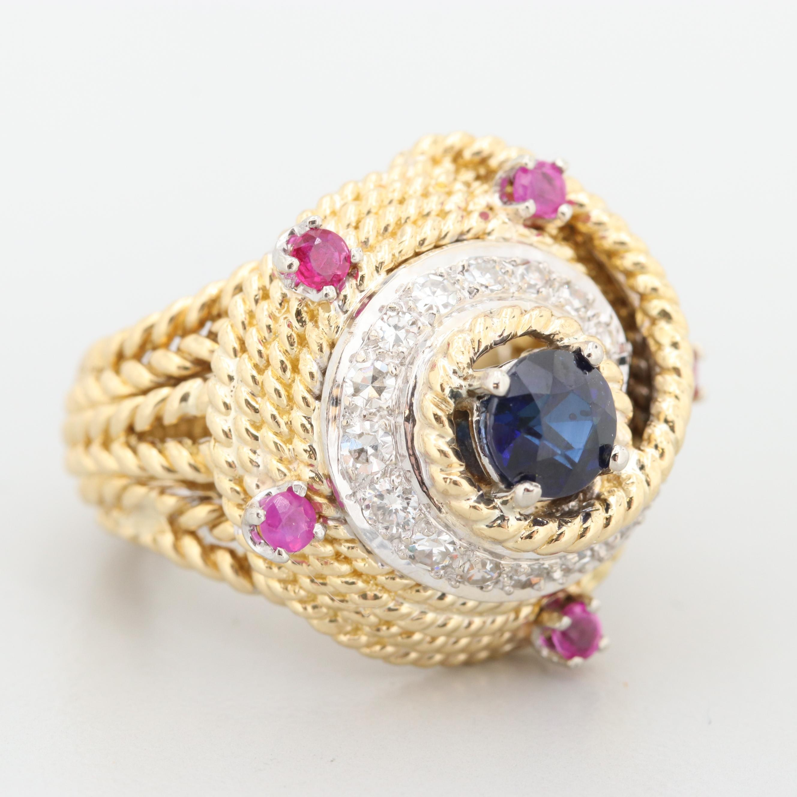 18K Yellow Gold Synthetic Sapphire, Ruby and Diamond Ring