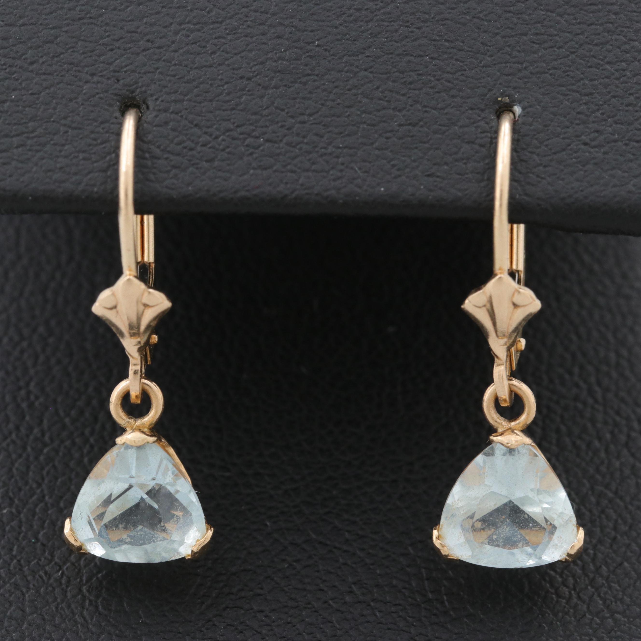 14K Yellow Gold Aquamarine Dangle Earrings