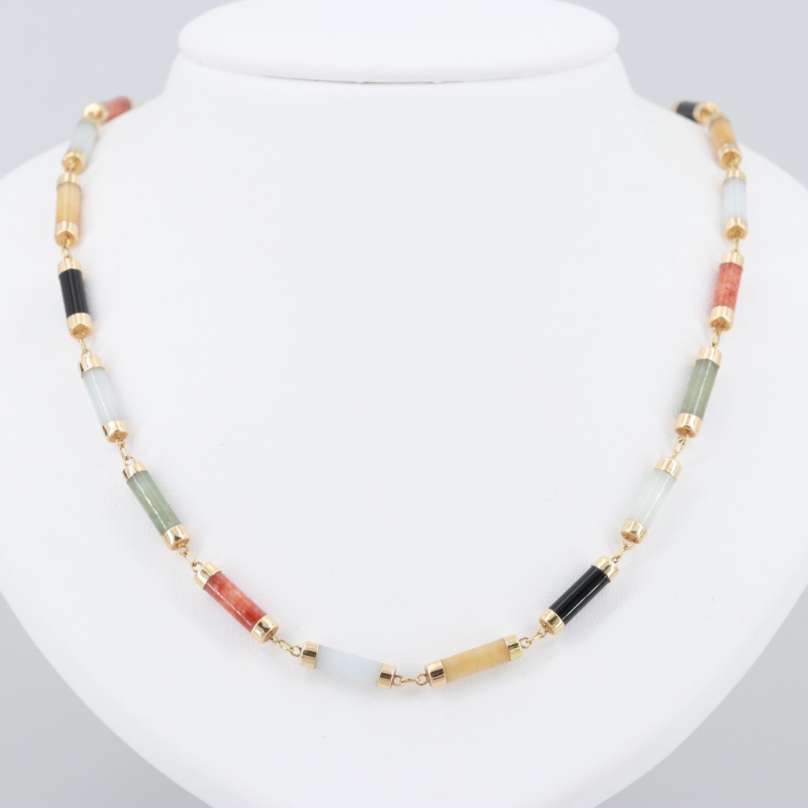 Chinese 14K Yellow Gold Dyed Jadeite and Black Onyx Necklace