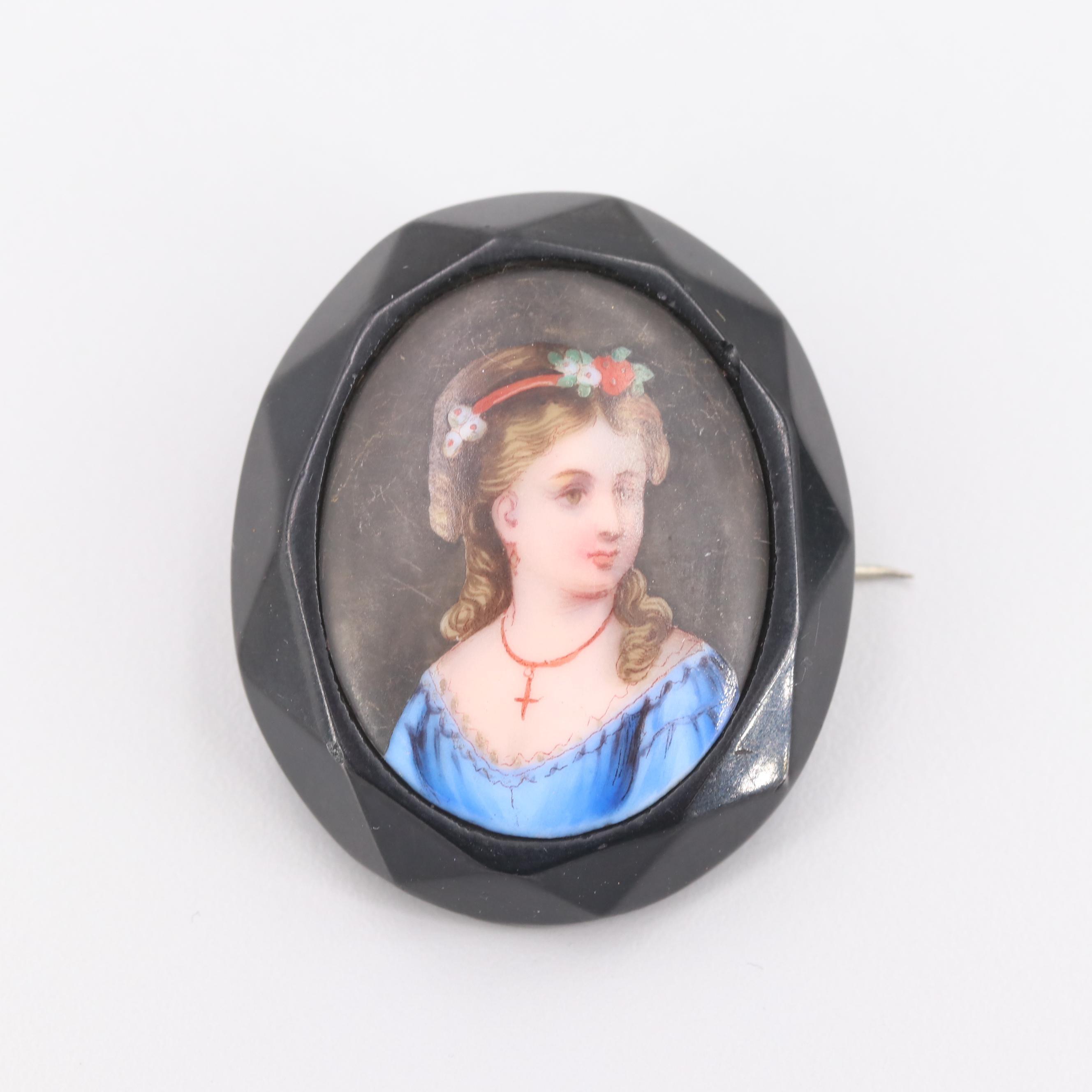 Vintage Costume Hand Painted Porcelain Brooch