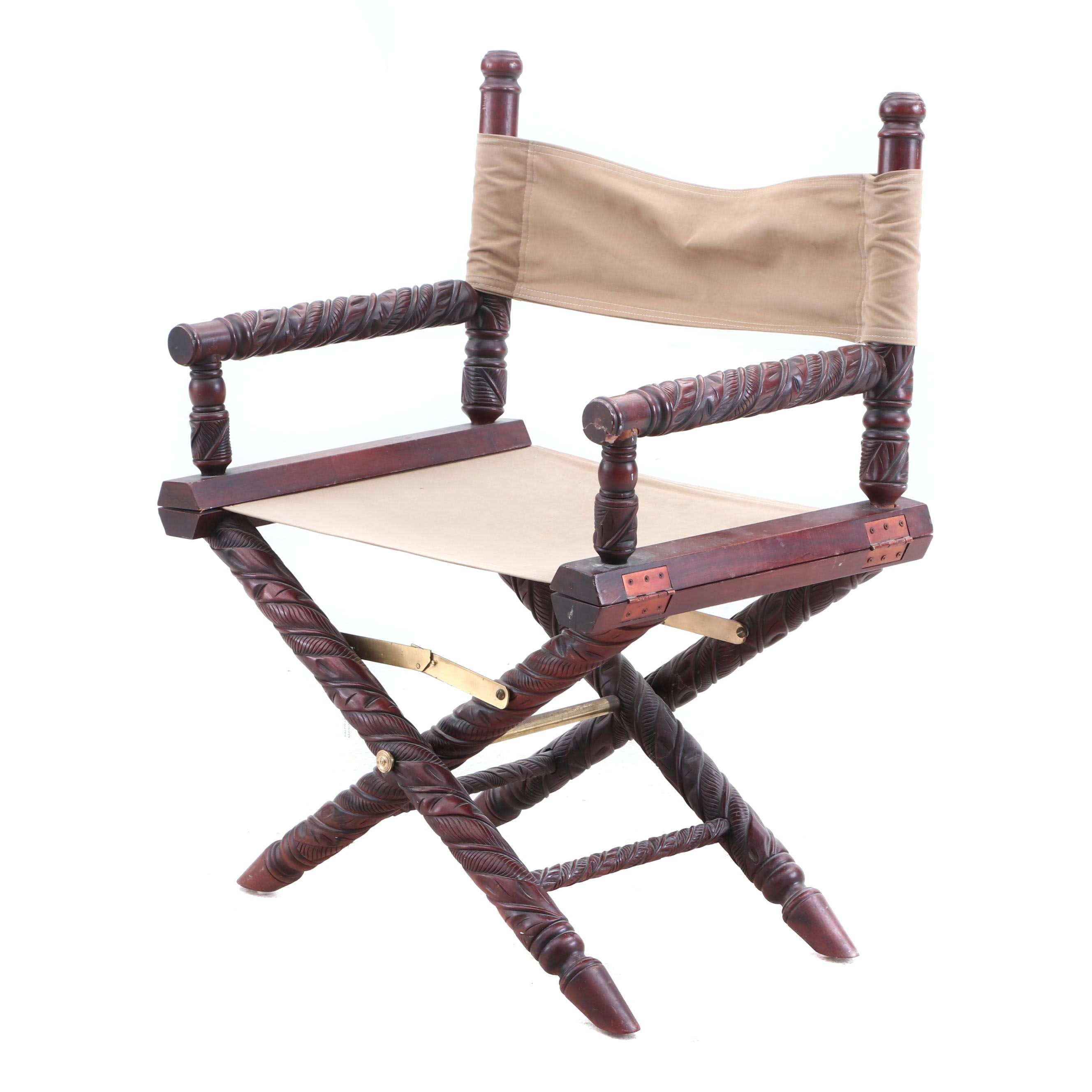 Empire Style Carved Mahogany Safari Chair