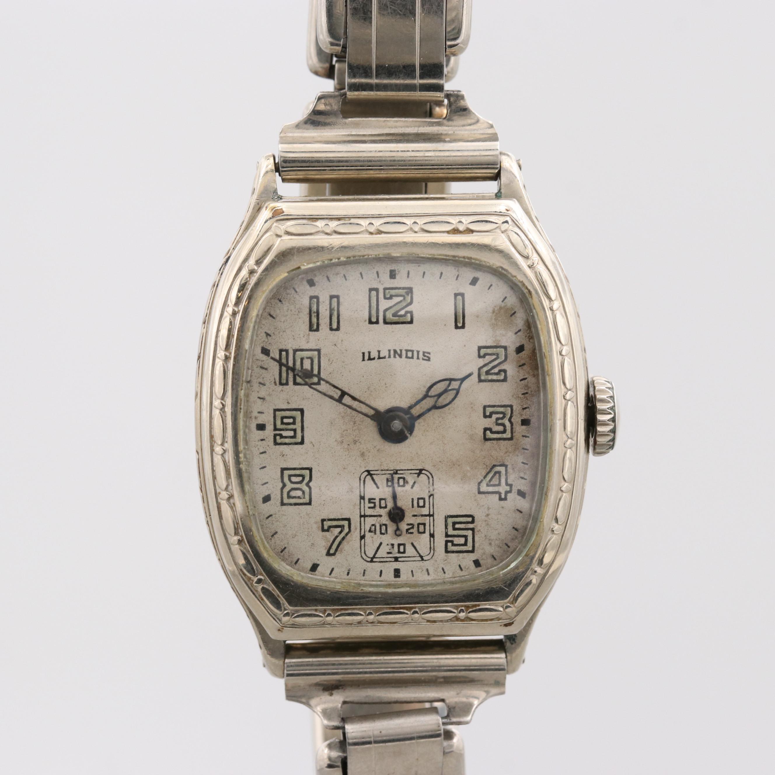 Vintage Illinois 14K White Gold Filled Wristwatch, 1930