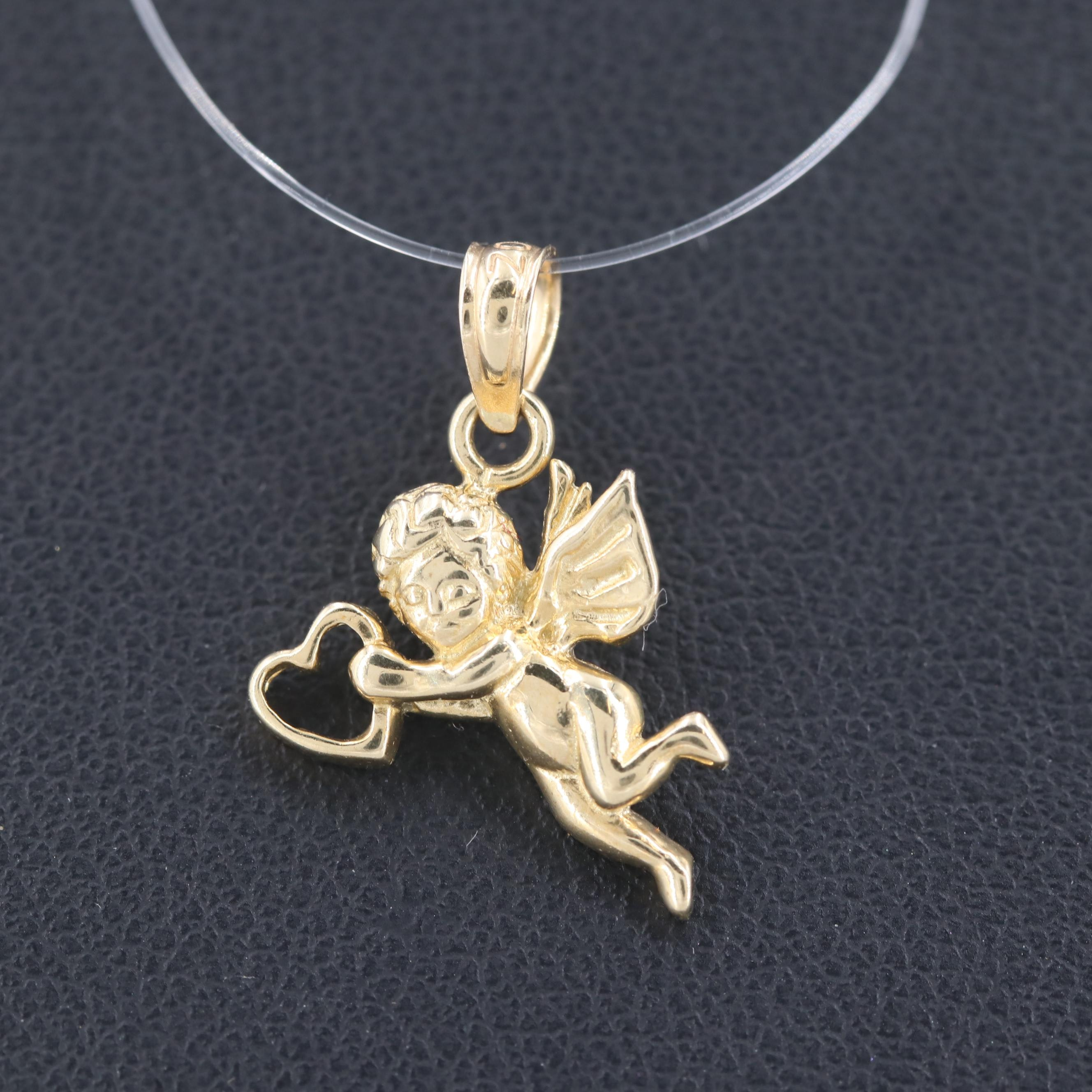 14K Yellow Gold Cupid and Heart Pendant