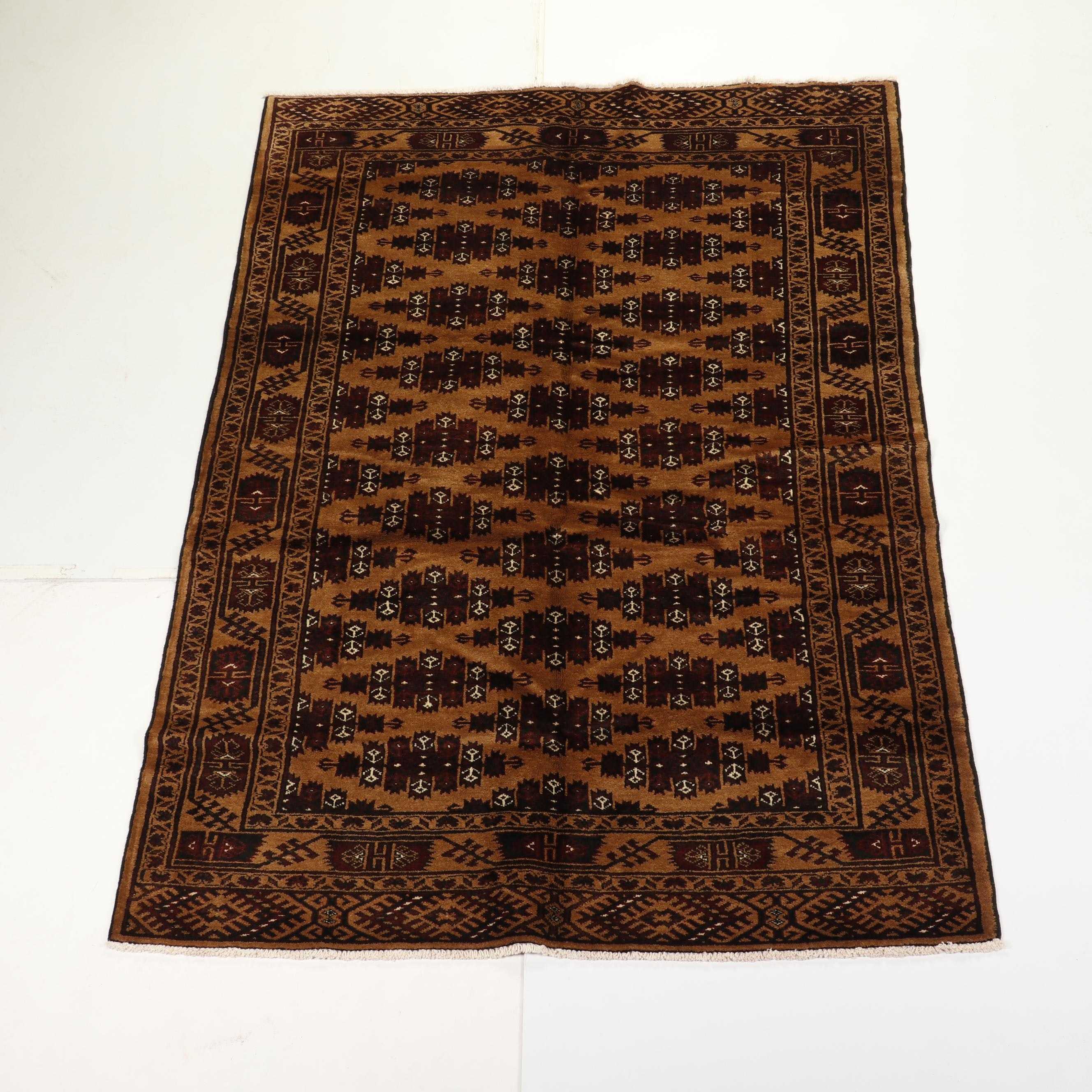 Hand-Knotted Turkmen Yomut Wool Area Rug