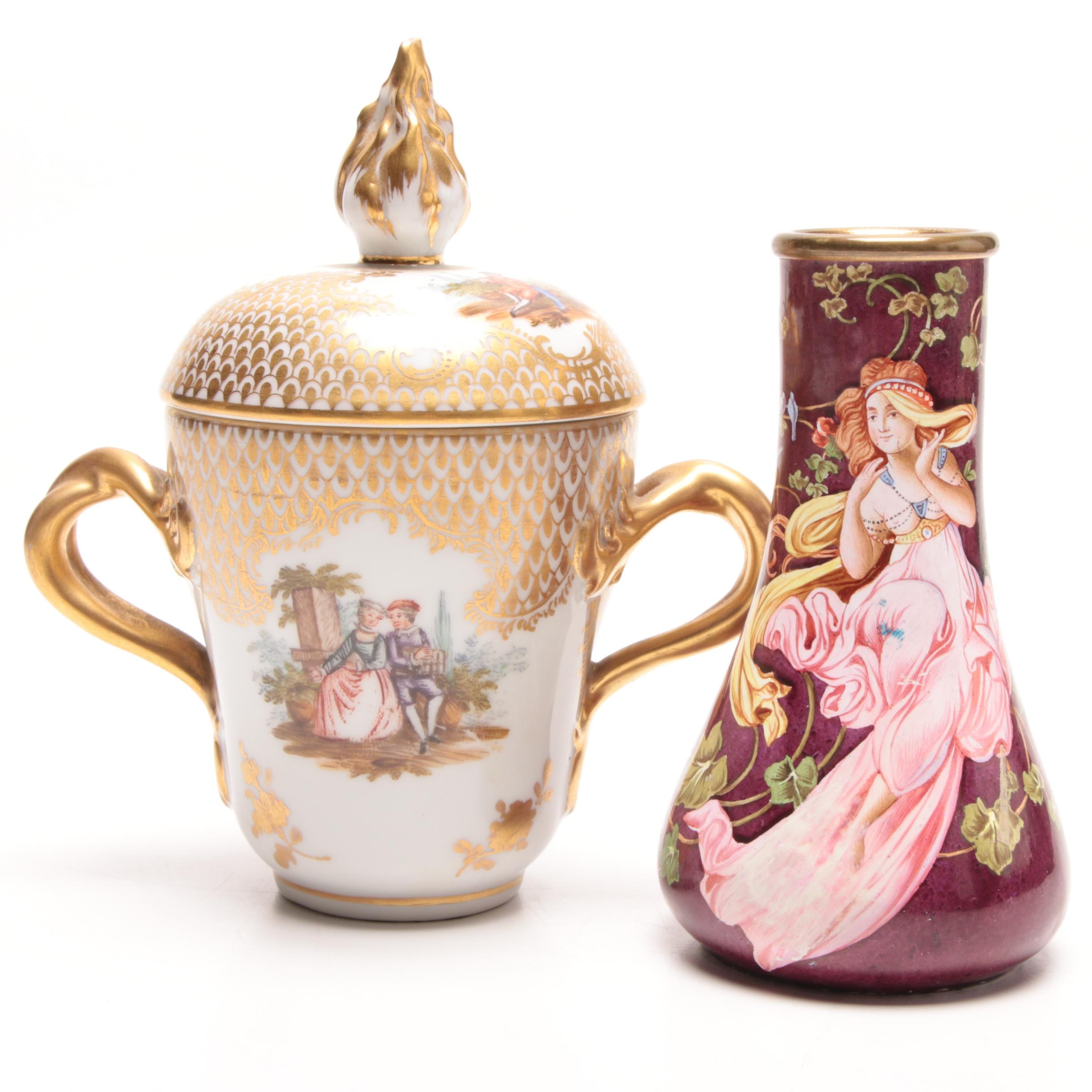 Hand-Painted Brass and Ceramic Vase and Porcelain Two-Handled Urn