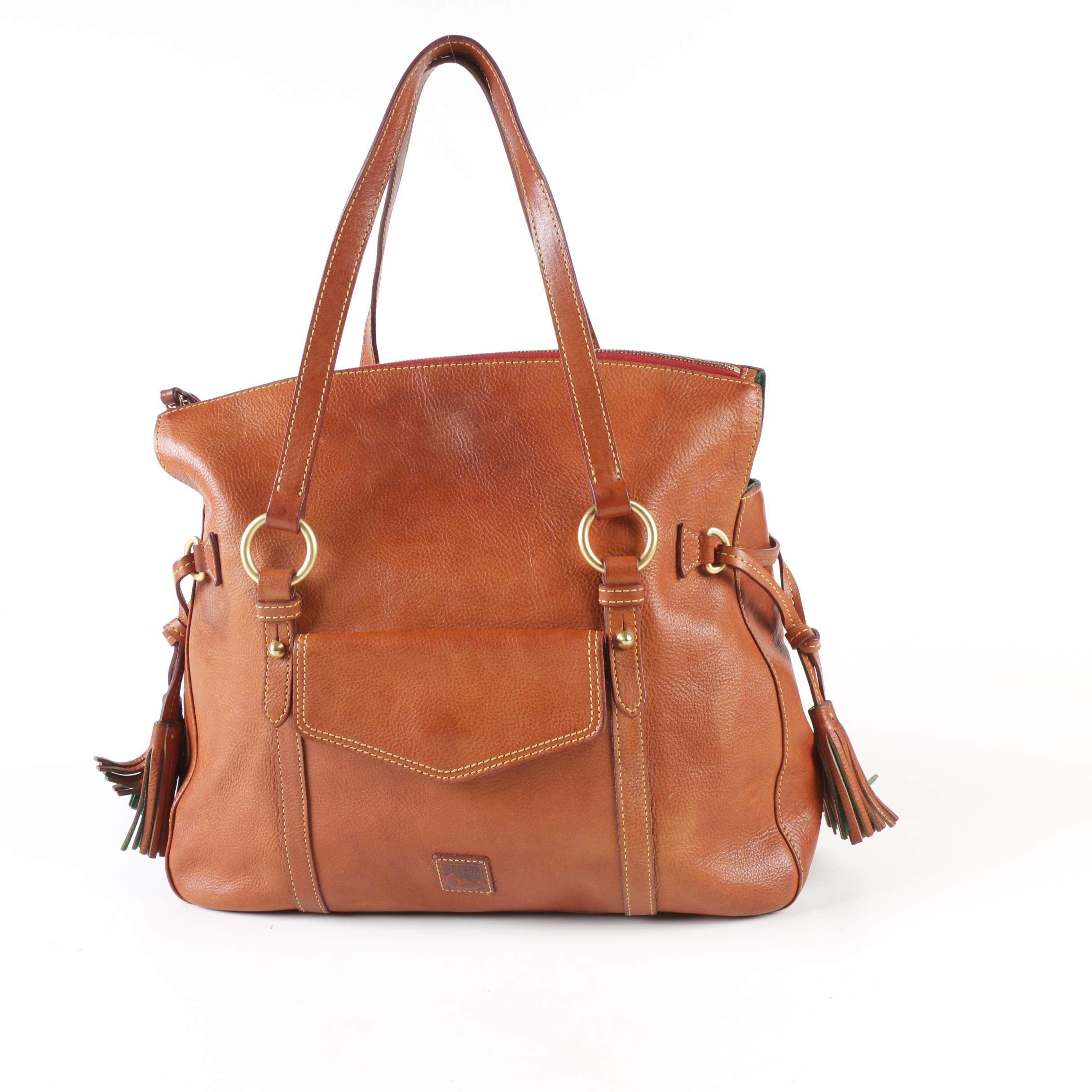 Dooney & Bourke Cognac Brown Leather Satchel