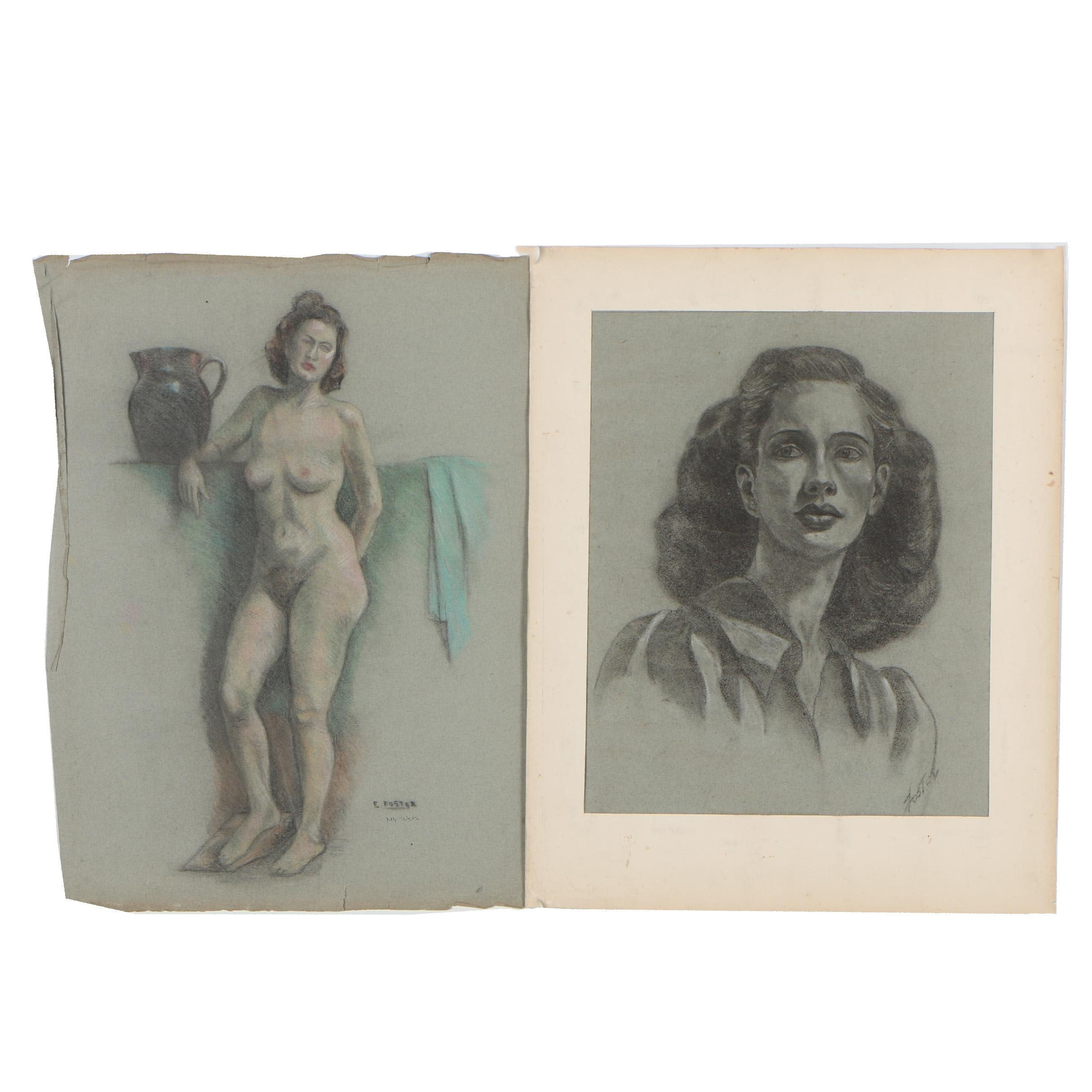 Edythe Foster Charcoal and Colored Pencil Drawings of Female Portraits