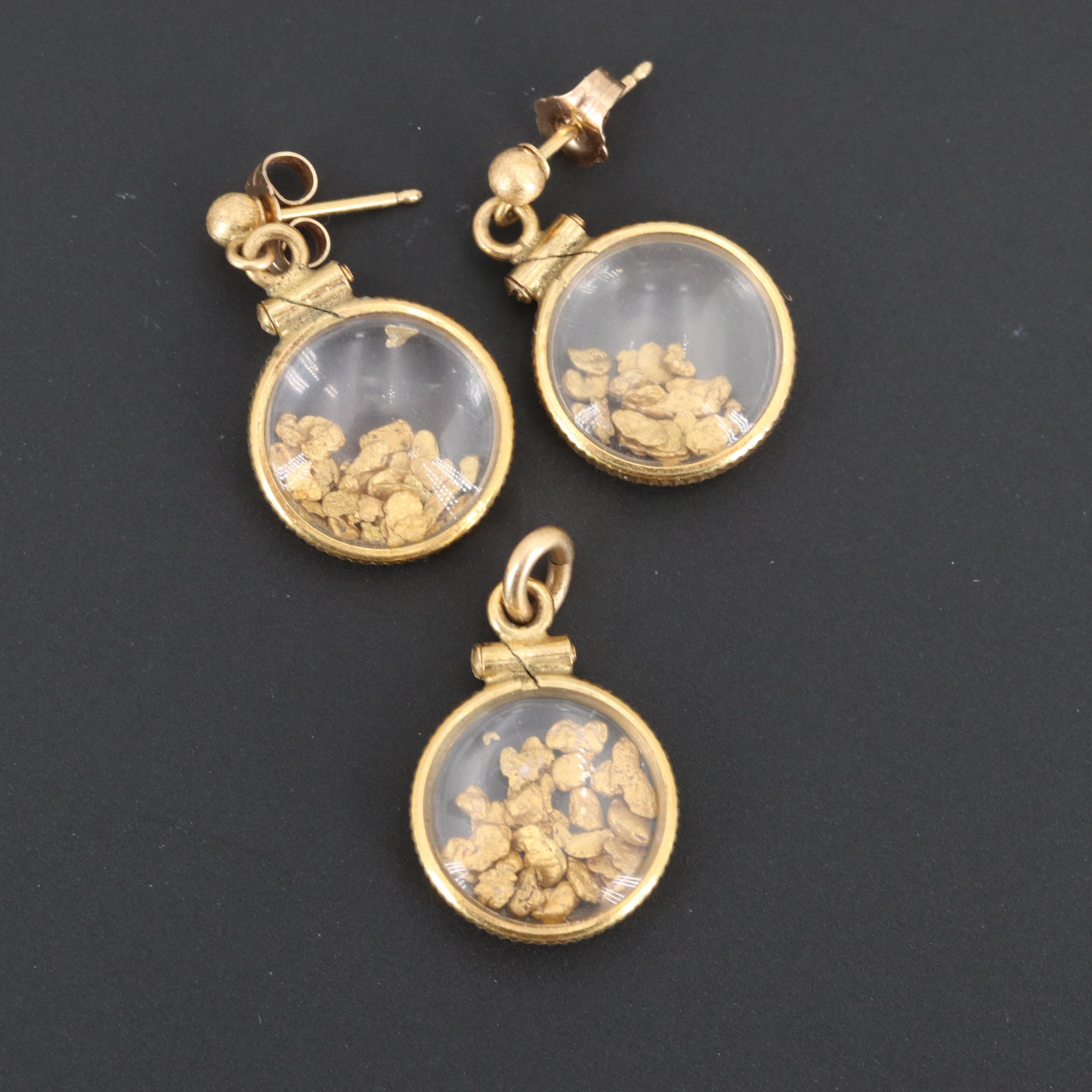 14K Yellow Gold Glass Earrings and Pendant Set