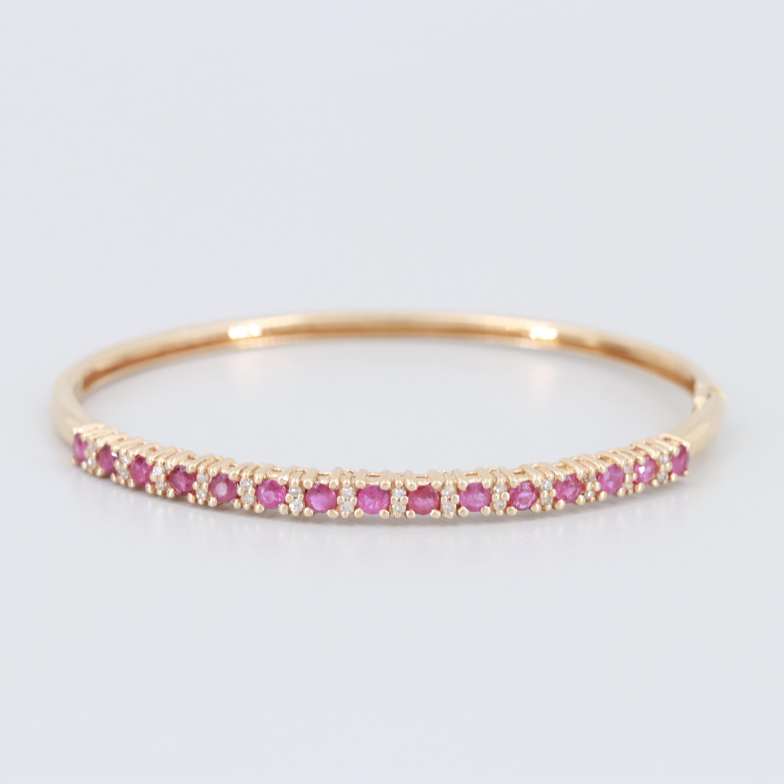 14K Yellow Gold Diamond and Ruby Hinged Bangle Bracelet