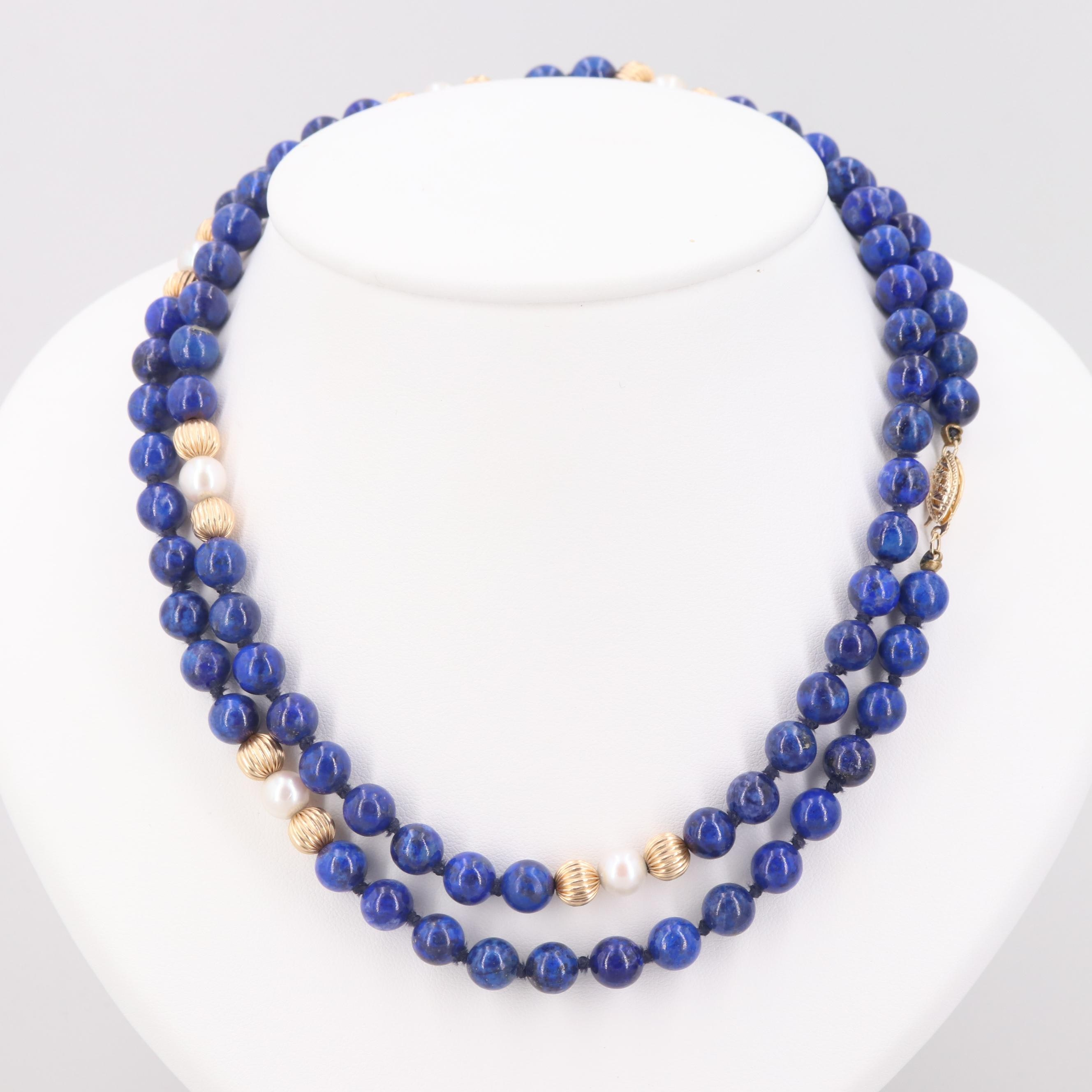 14K Yellow Gold Lapis Lazuli and Cultured Pearl Hand Knotted Beaded Necklace