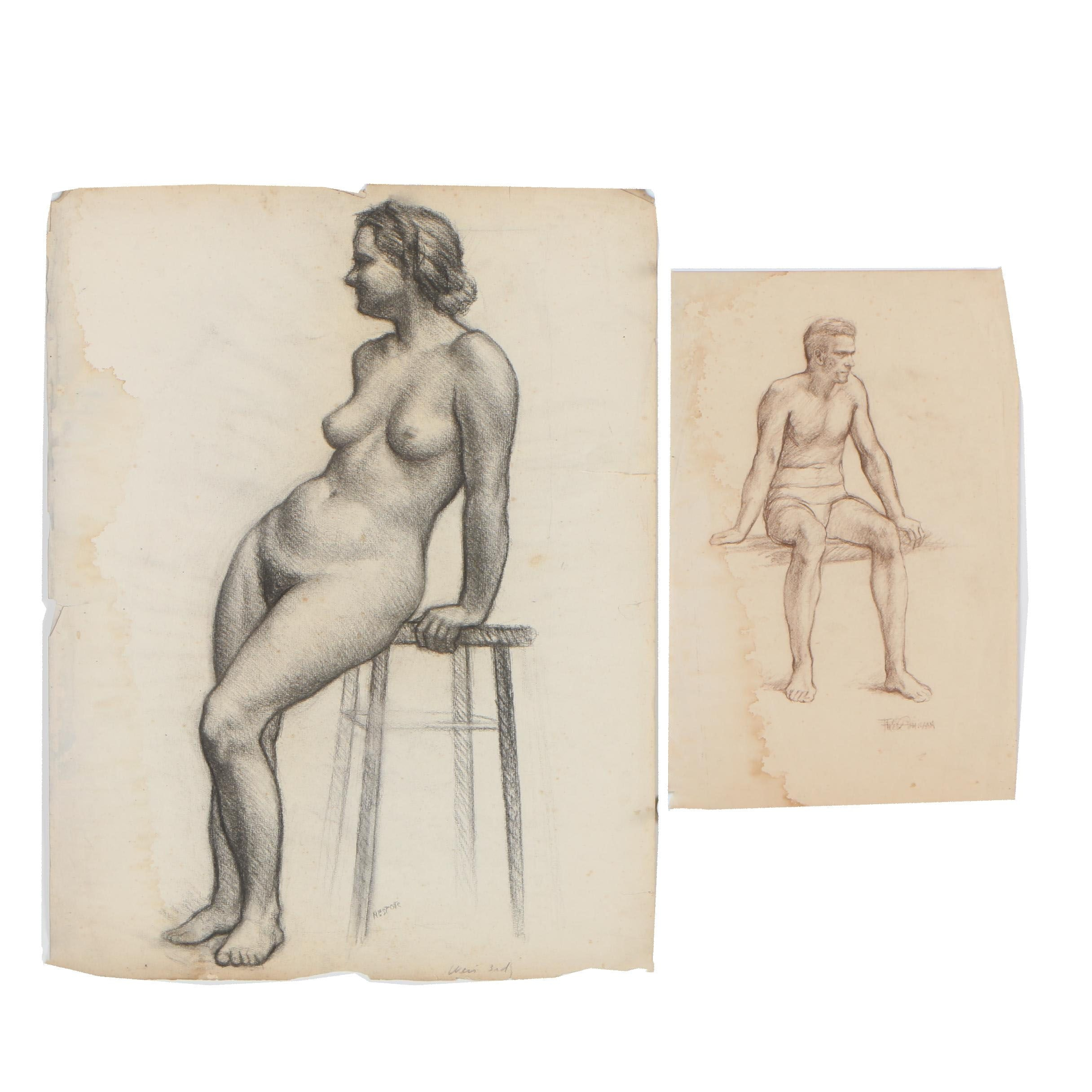 Early 20th Century Charcoal Figural Studies