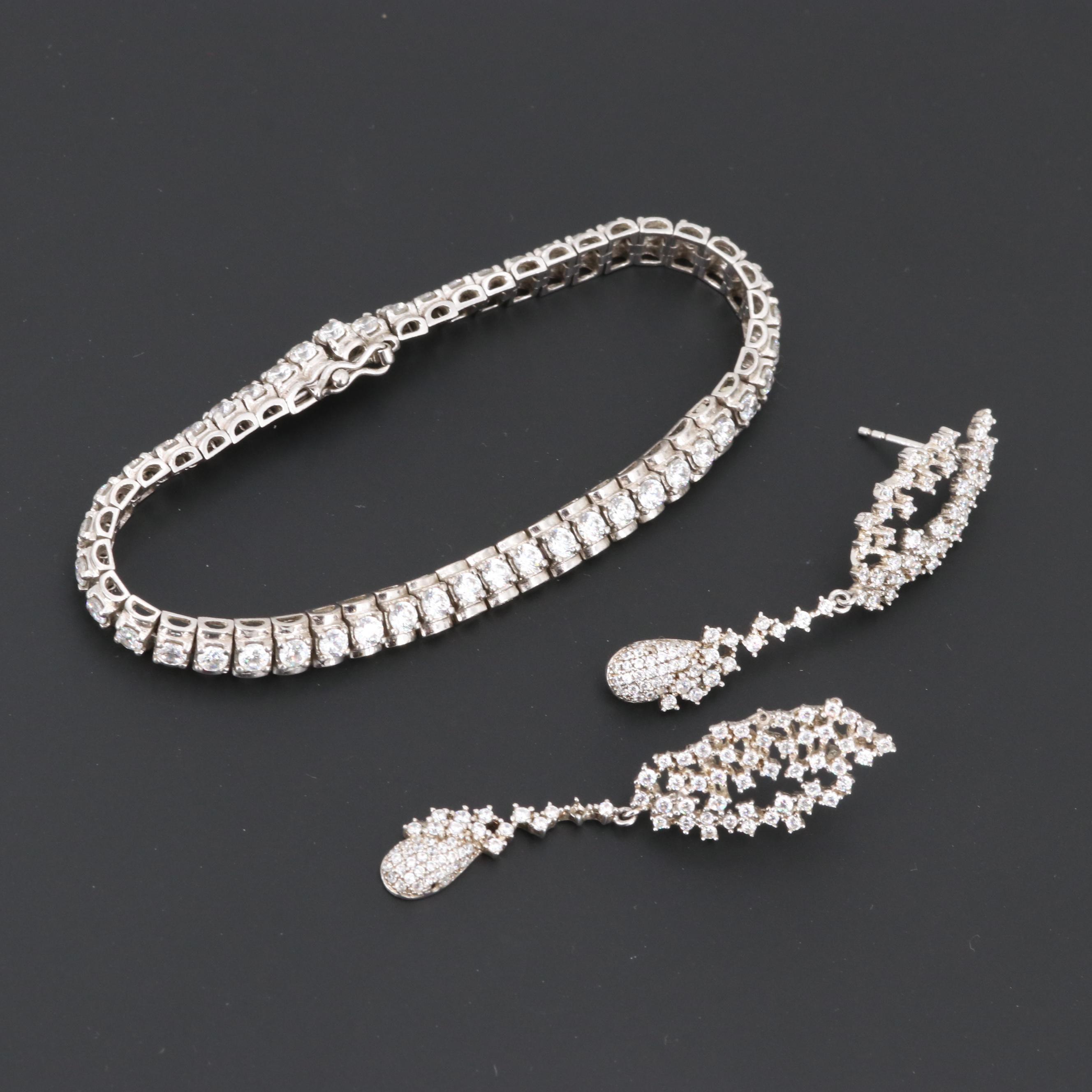 Sterling Silver Cubic Zirconia Bracelet and Earrings