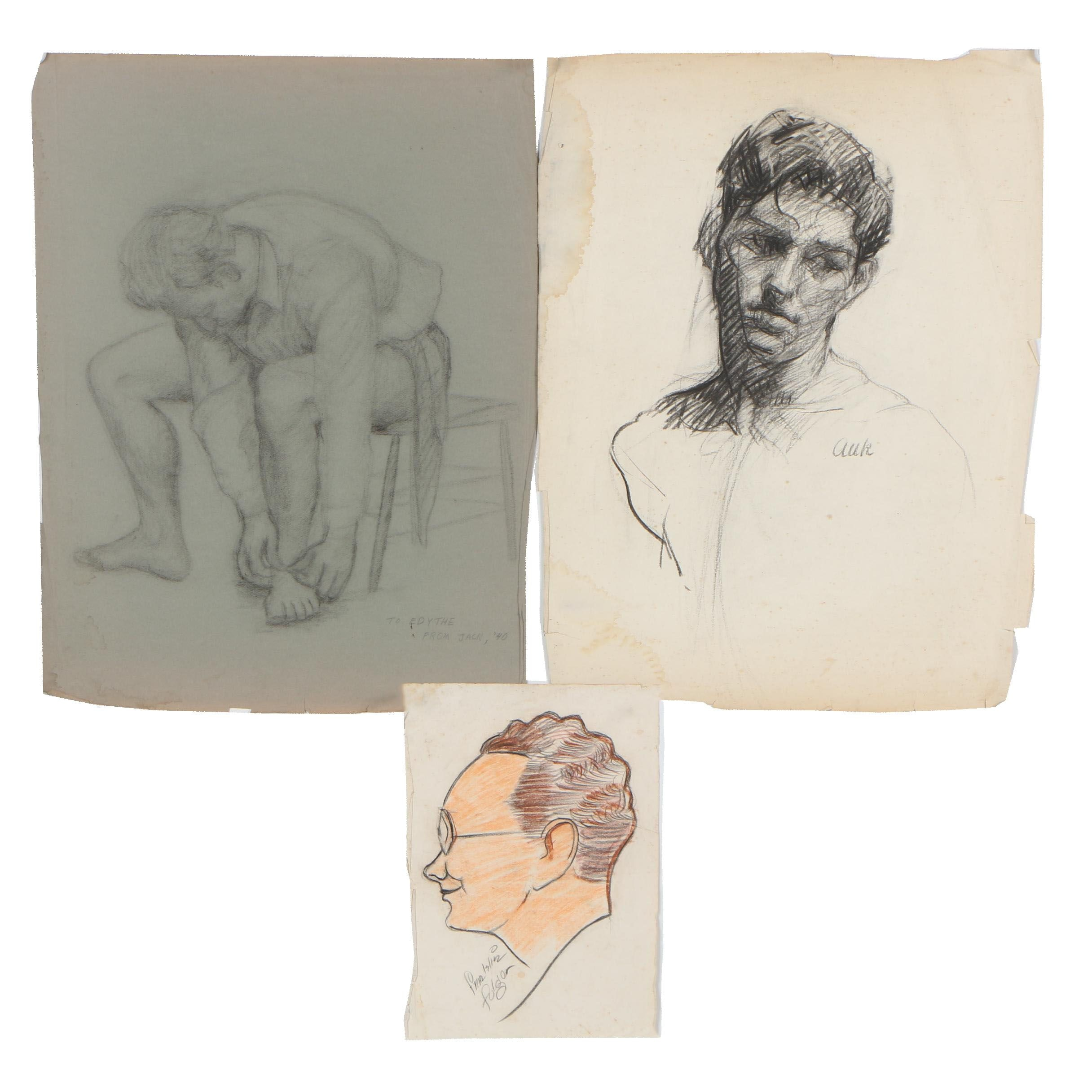 1940-1950s Charcoal Drawings Featuring Franklin Folger's Illustration