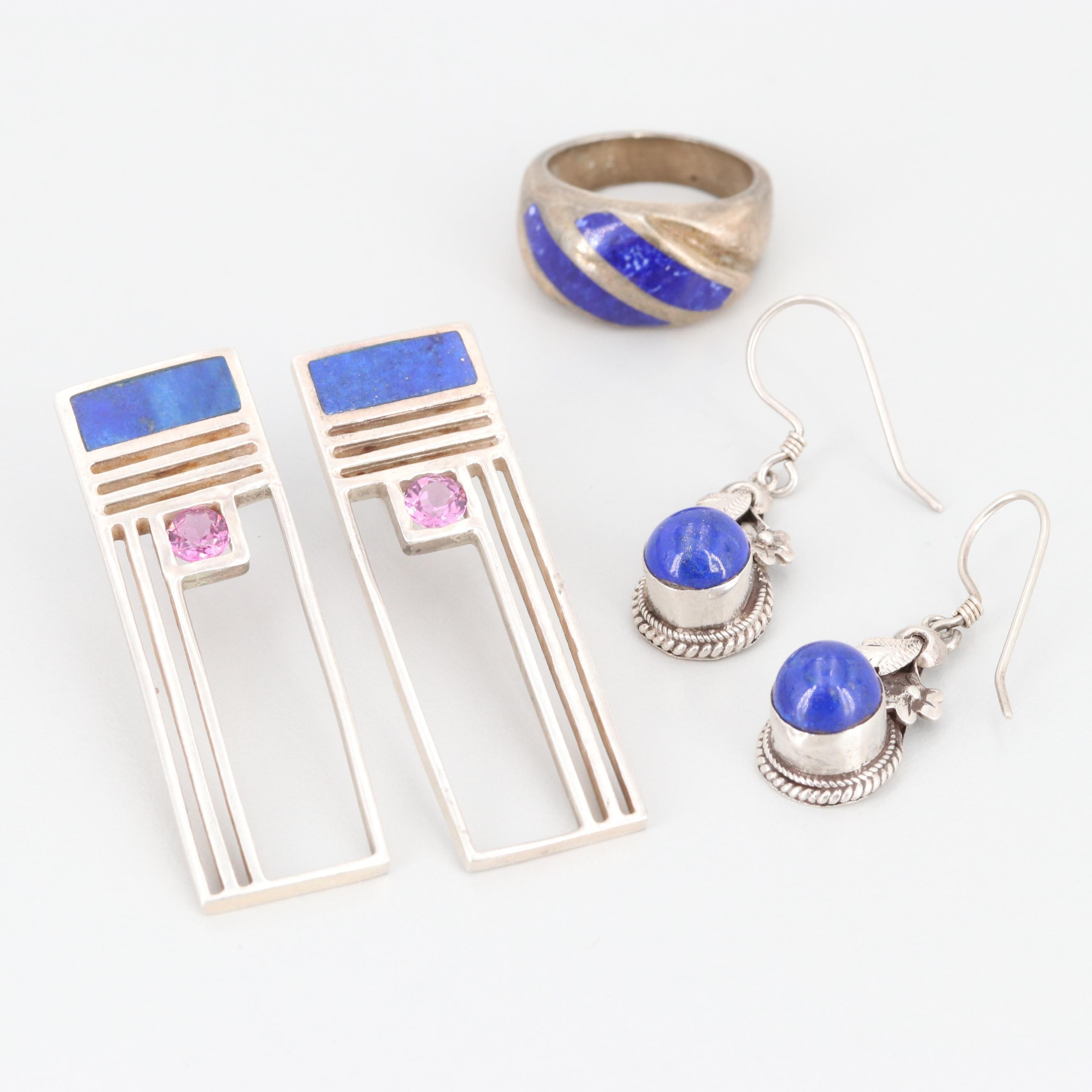 Sterling Silver Earrings and Mexican Ring Including Lapis Lazuli and Sodalite