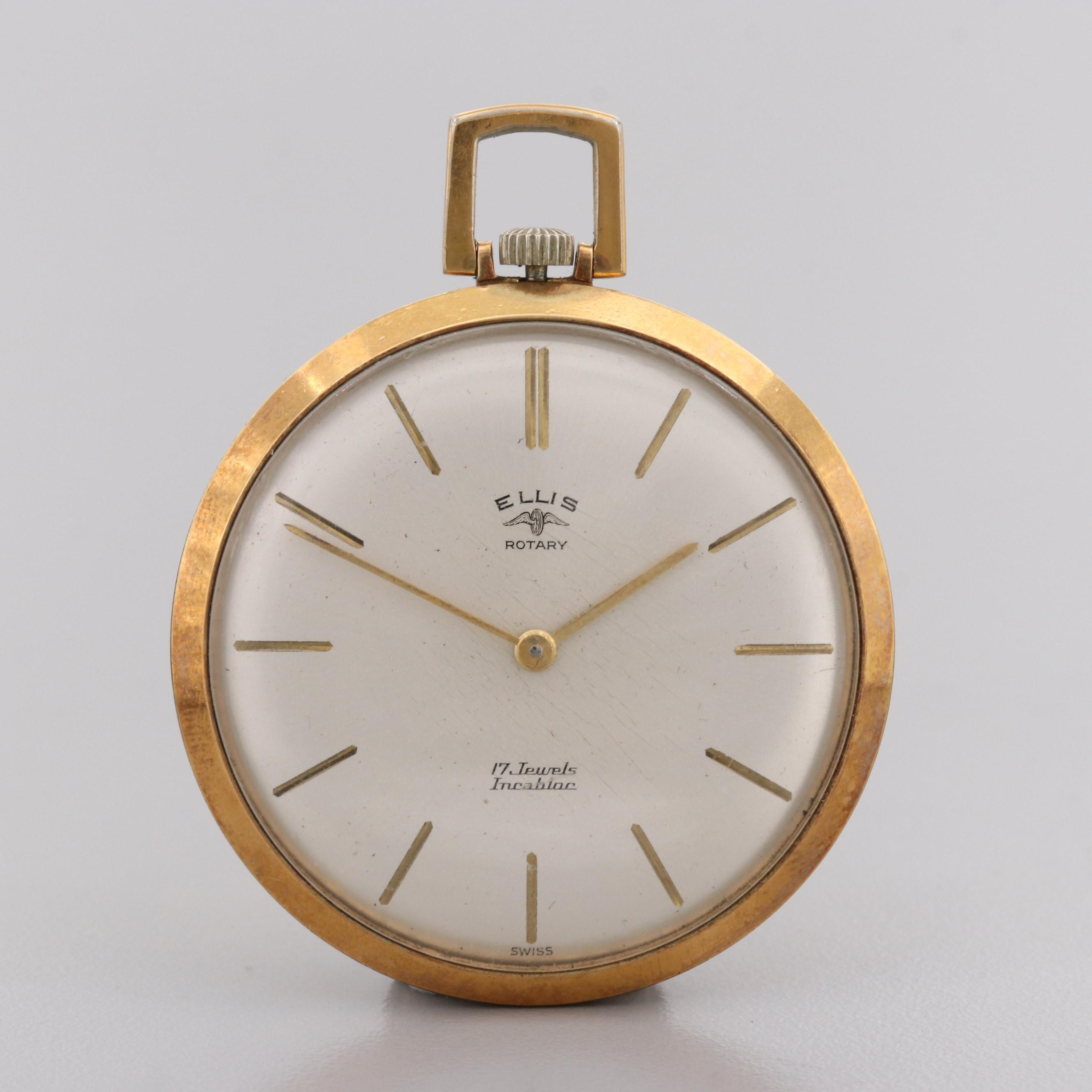 Vintage Ellis Rotary Gold-Tone Open Face Pocket Watch