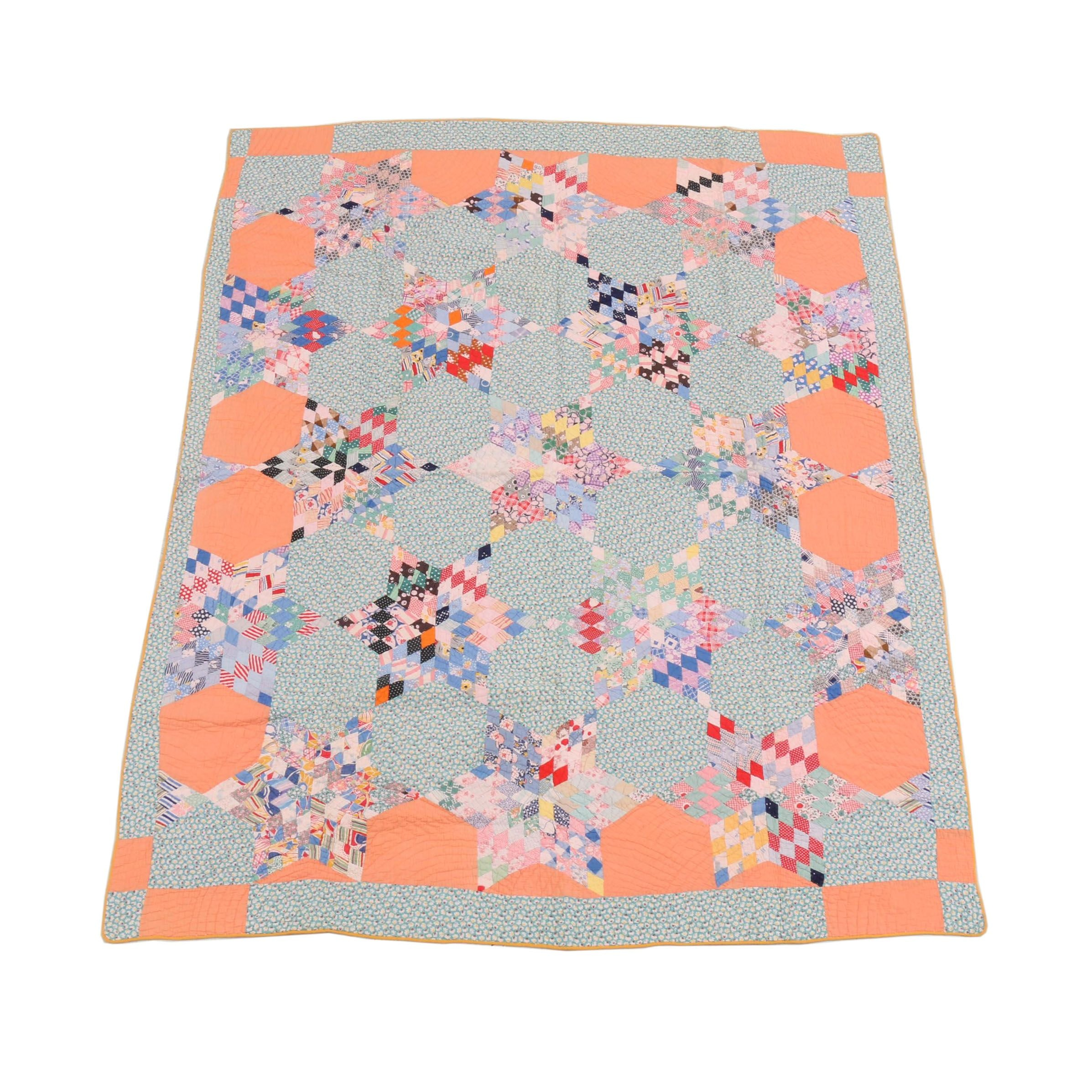 """Handcrafted """"Lone Star"""" Quilt"""