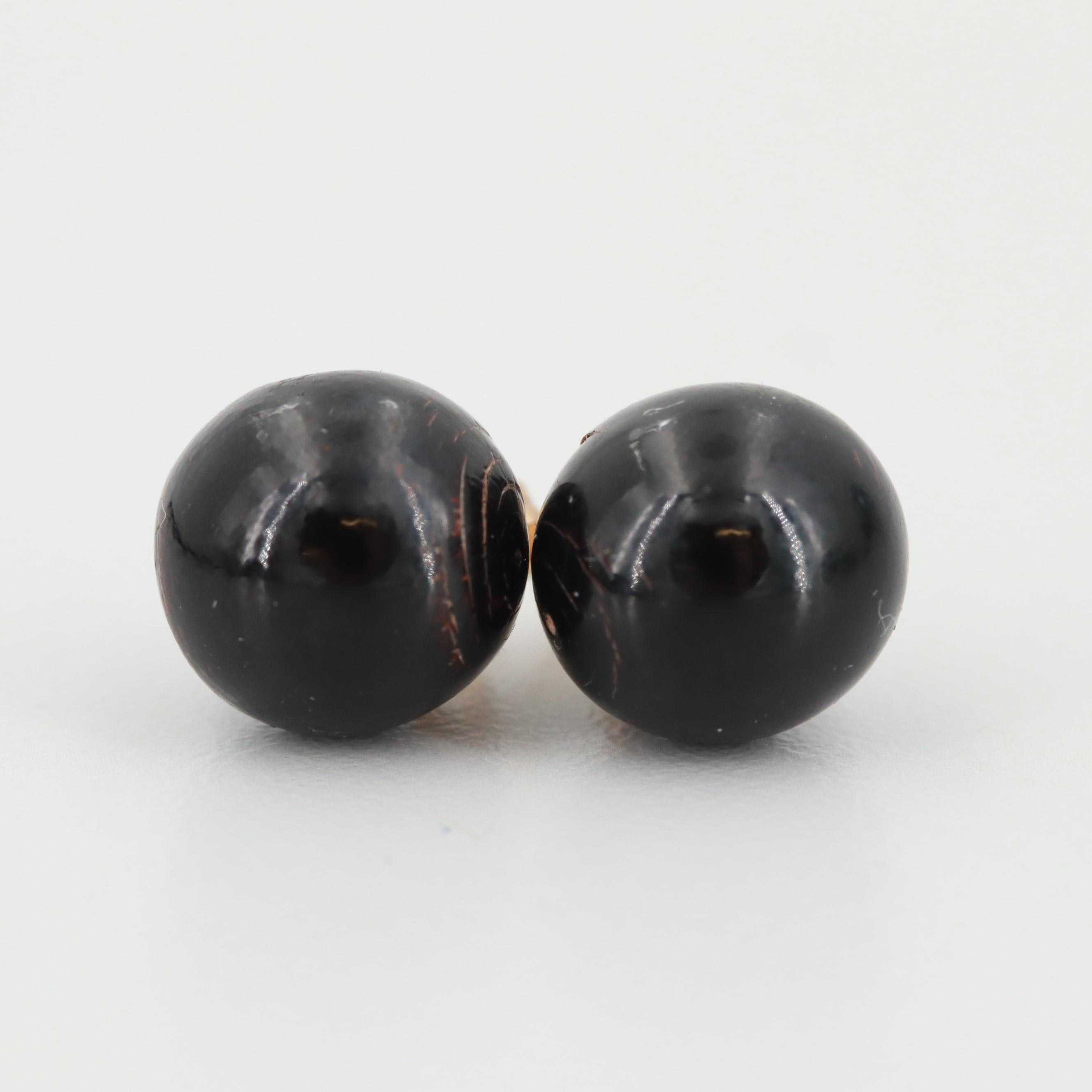 14K Yellow Gold Black Coral Earrings