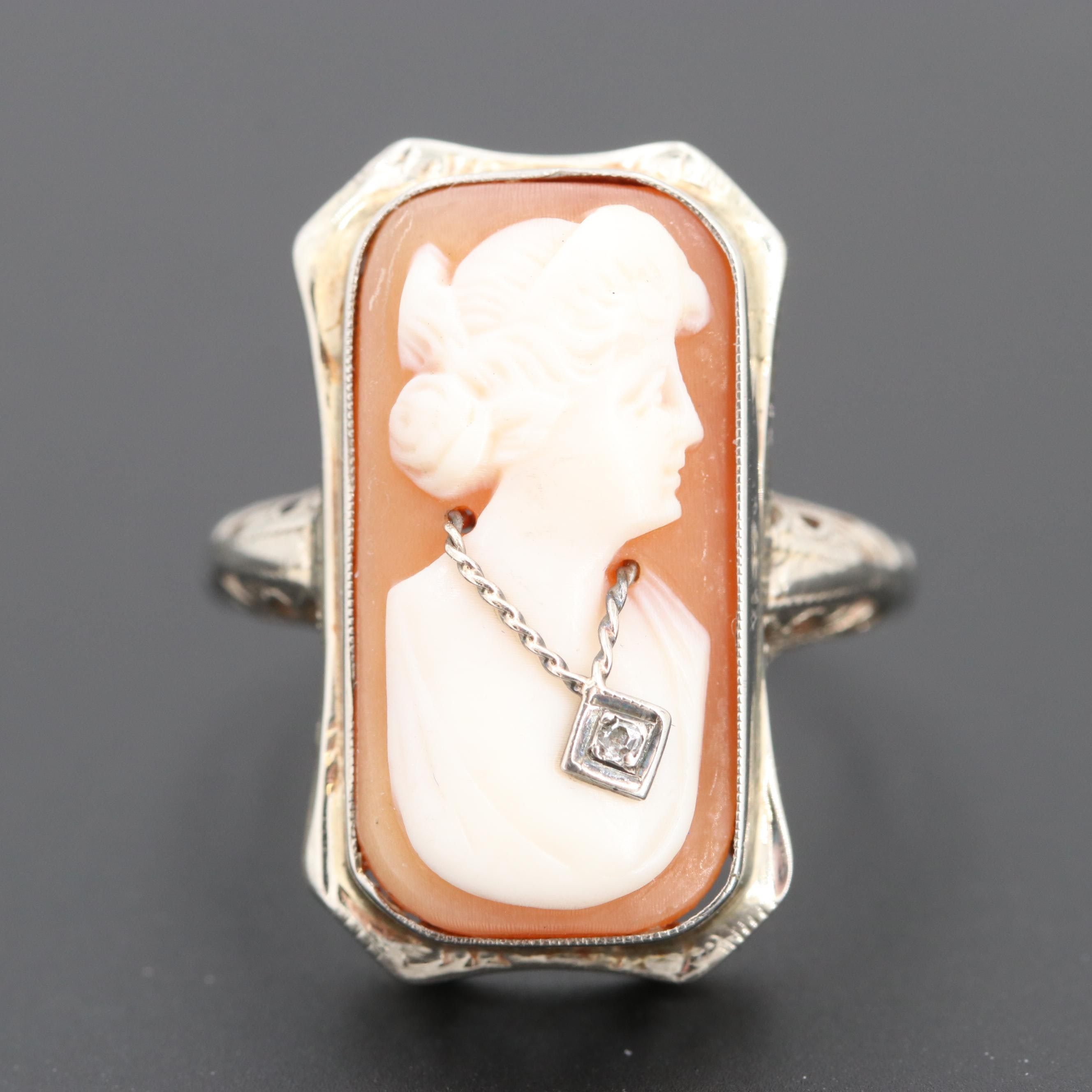 14K White Gold Diamond and Helmet Shell Cameo Habillé Ring