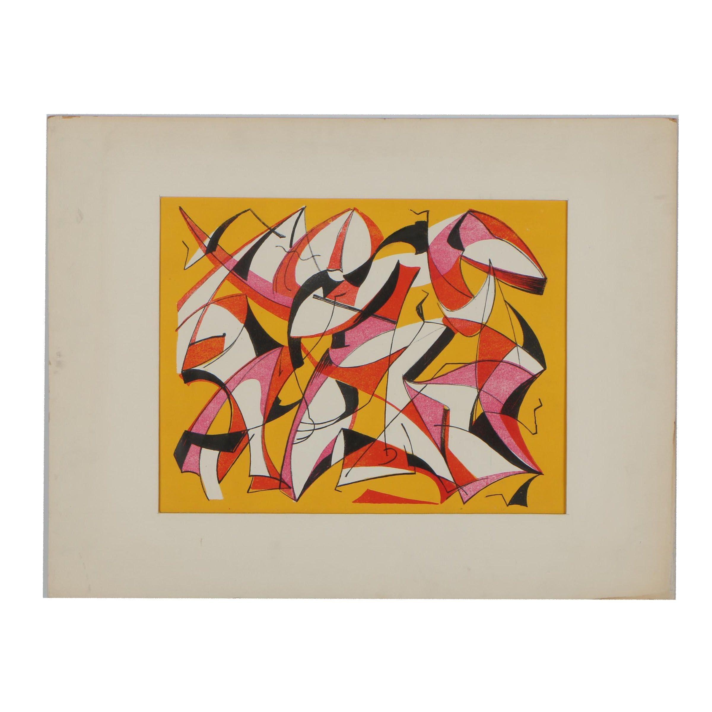 "Arthur Helwig Lithograph ""Composition 60"""