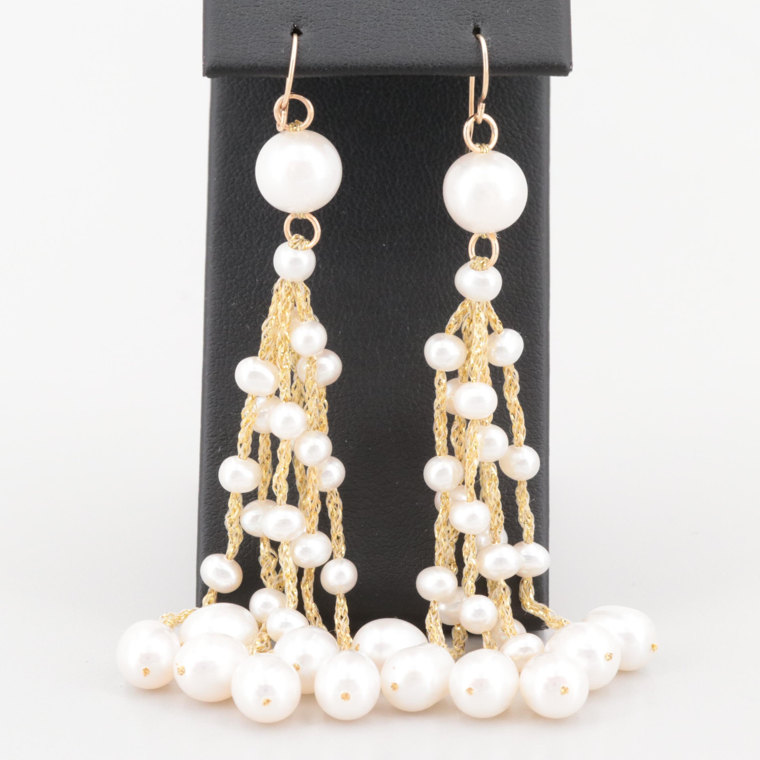 14K Yellow Gold Cultured Pearl Chandelier Earrings