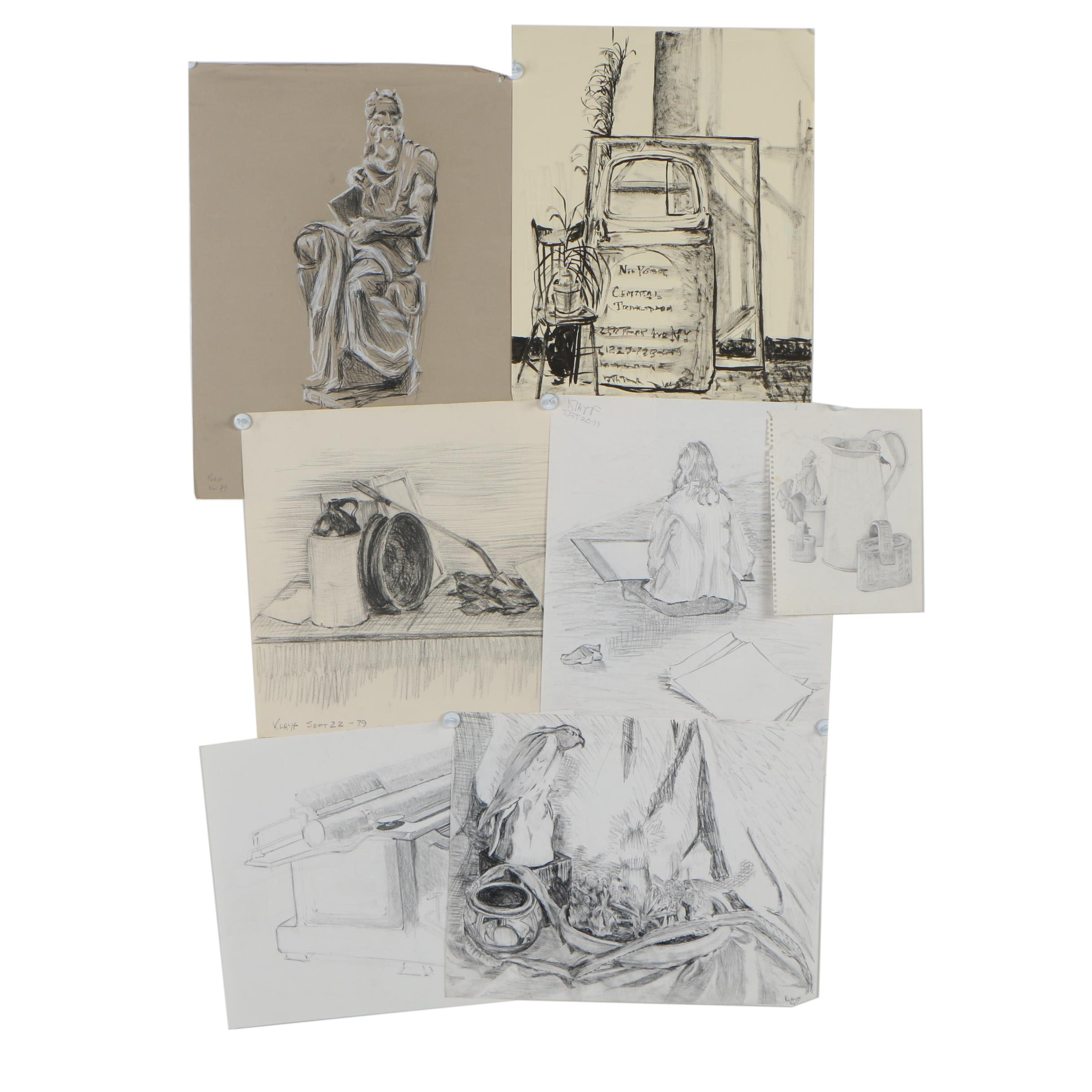 1979 Charcoal and Graphite Drawing Studies, Signed Klayf