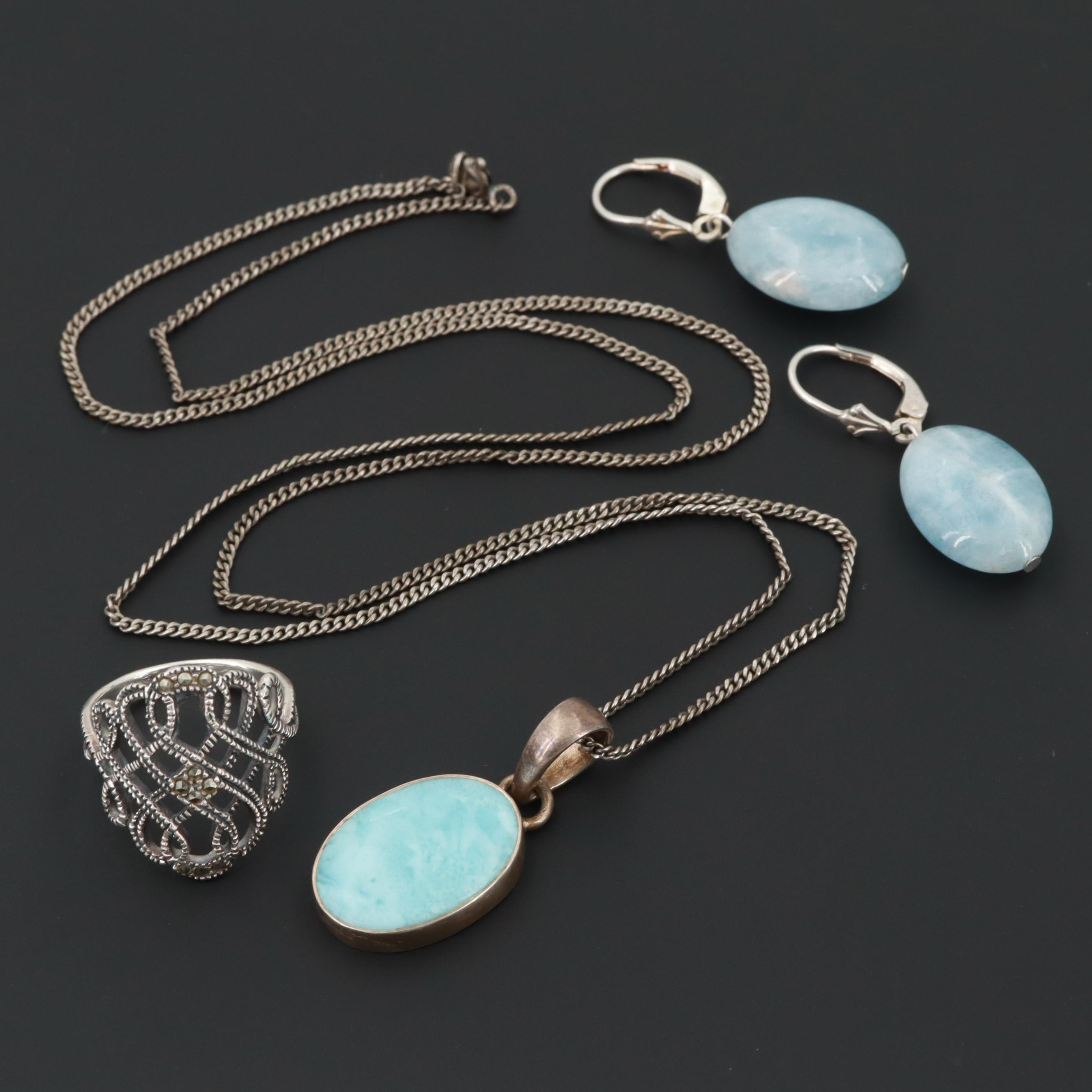 Sterling Silver Blue Beryl, Larimar and Marcasite Necklace, Earrings and Ring