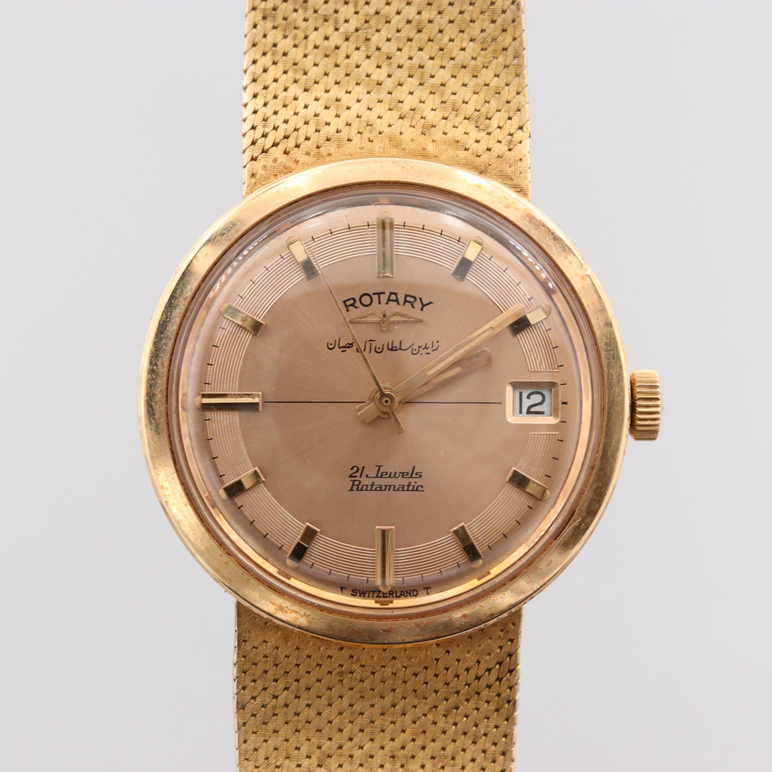 Vintage Rotary 18K Yellow Gold Automatic Wristwatch