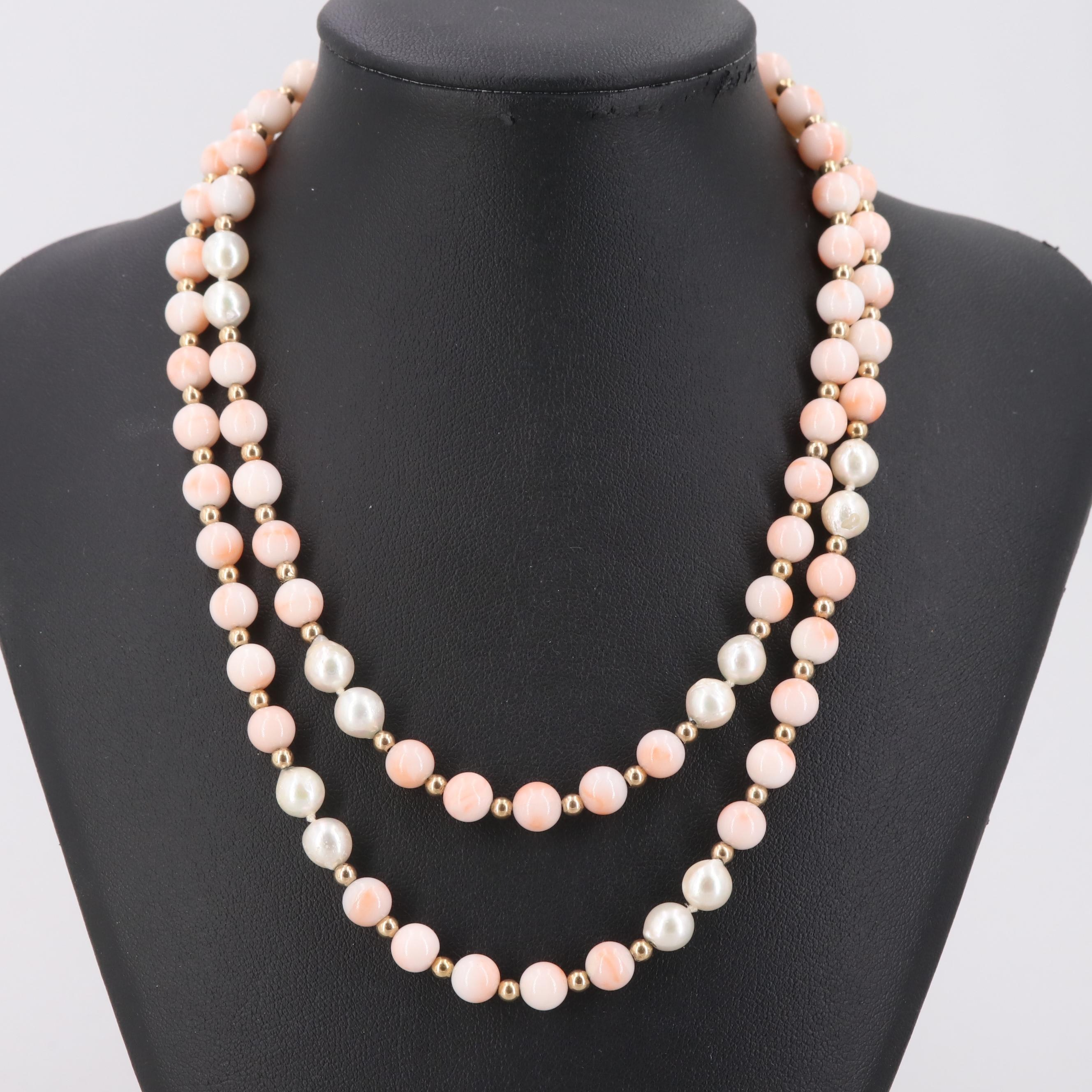 14K Yellow Gold Coral and Cultured Pearl Beaded Necklace