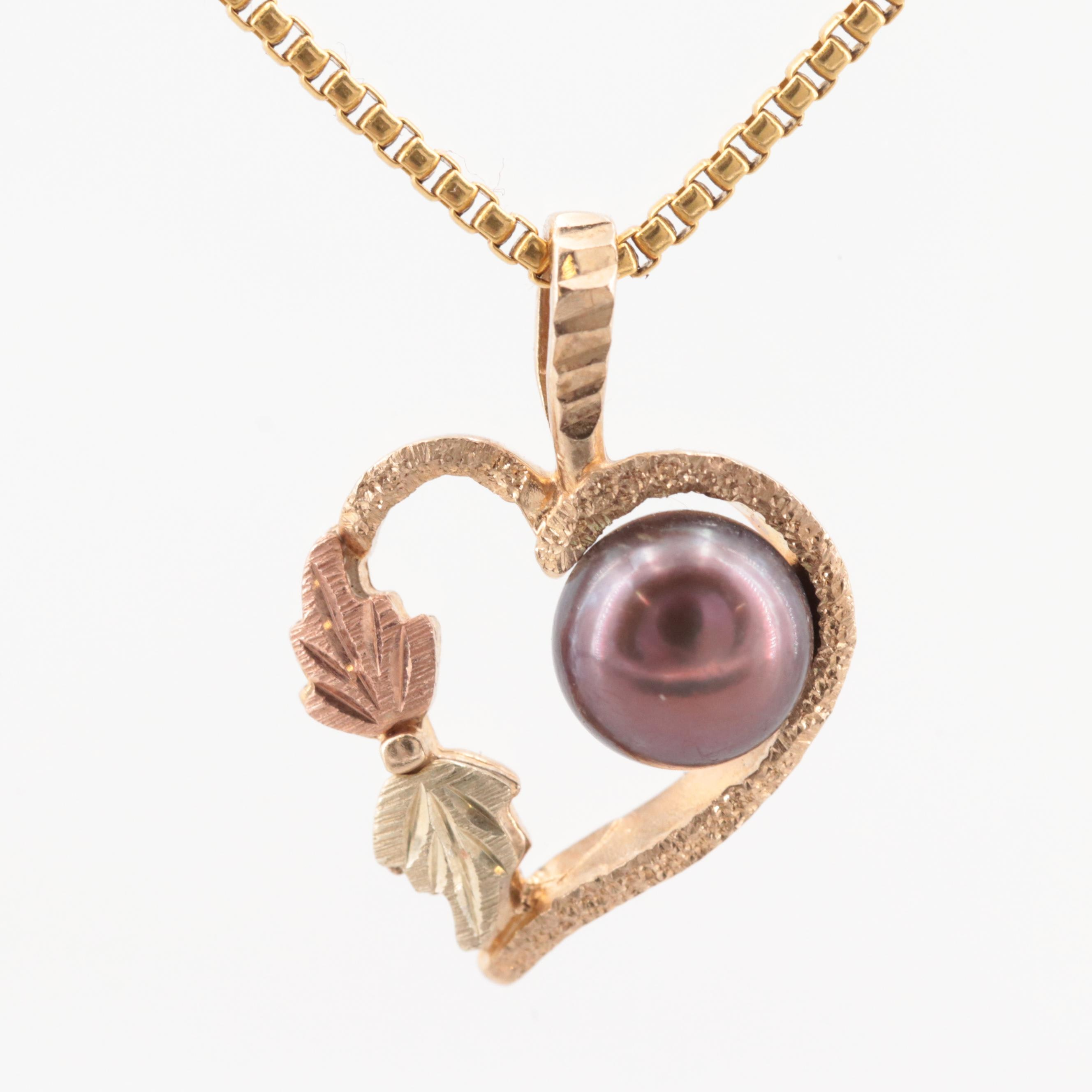 21K Yellow Gold Necklace with 10K Yellow Gold Cultured Pearl Heart Pendant