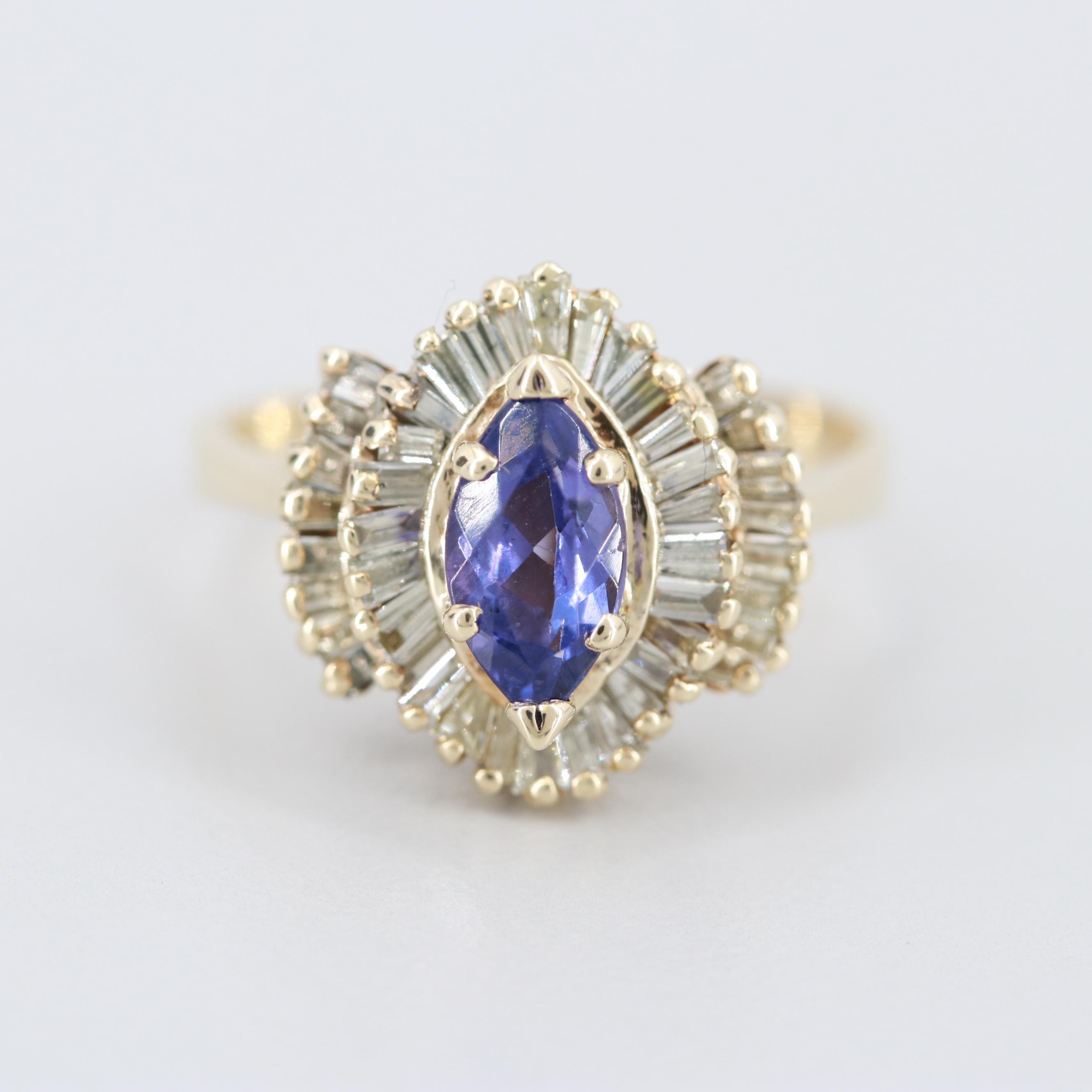 14K Yellow Gold Tanzanite and 1.00 CTW Diamond Ring