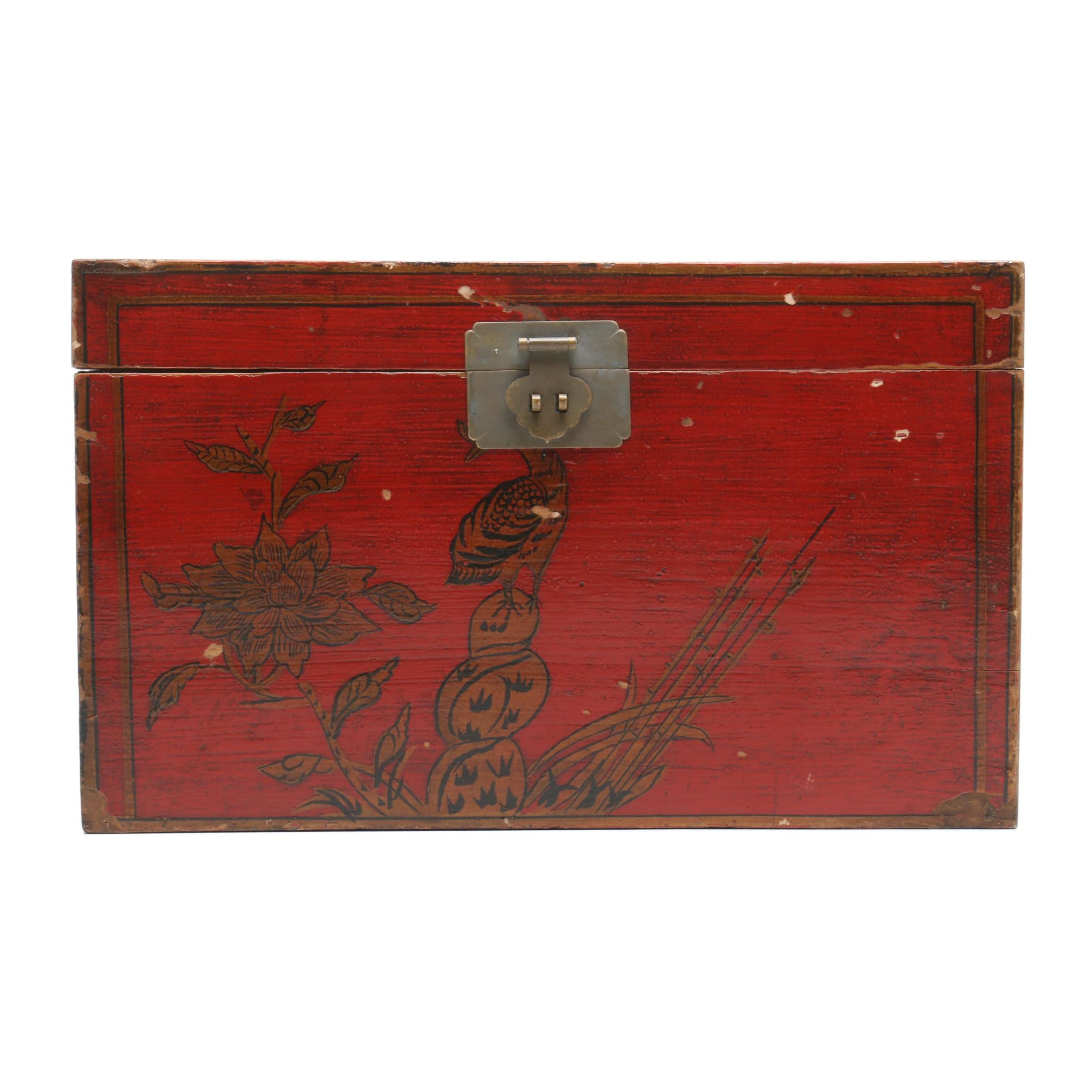 Chinese Painted Wooden Decorative Box