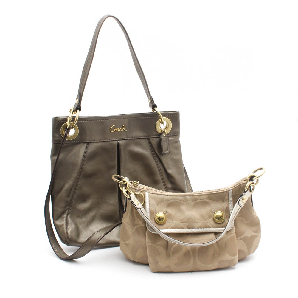 Coach Ashley Leather and Coach Poppy Signature Sateen Monogram Satin Handbags