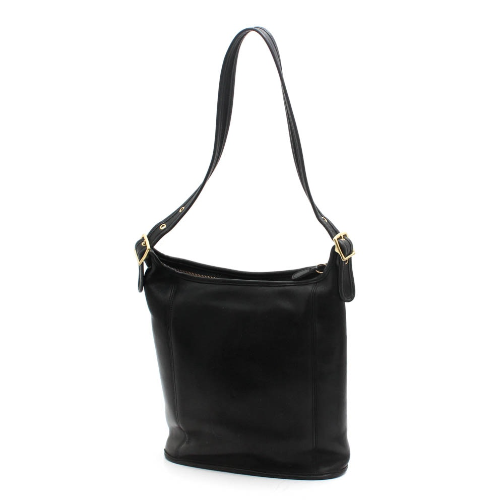 Coach Slim Duffle Black Leather Shoulder Bag