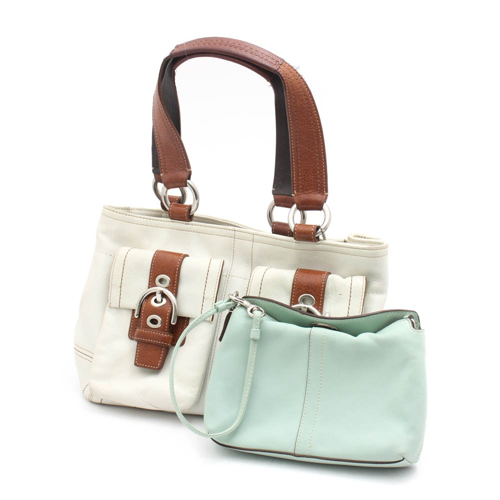 Coach Soho Leather Double Pocket Satchel and Convertible Wristlet